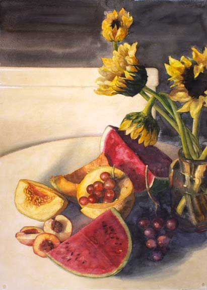 Clustered Fruit And Sunflowers, Eileen Goodman, Watercolor