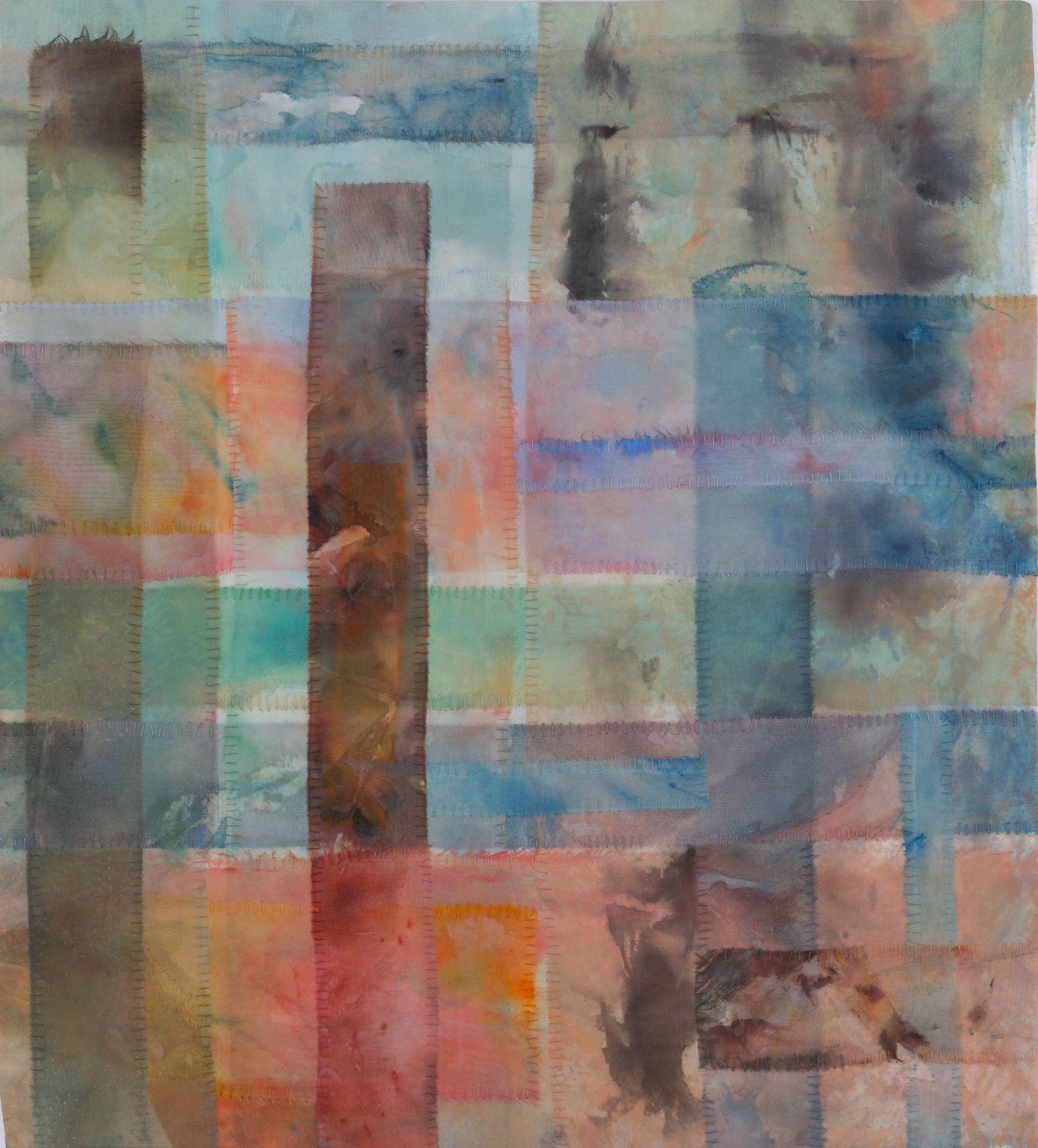 """As We Go Away, 21.5"""" x 19.5"""", Acrylic And Thread On Silk"""