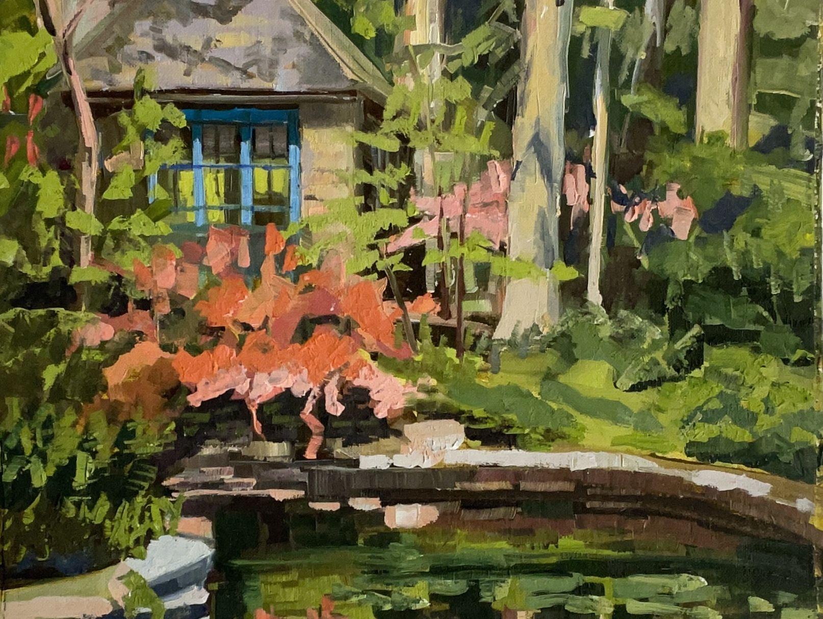 "Pink Azalea At The Barnes, 10"" x 10"", Oil On Canvas"