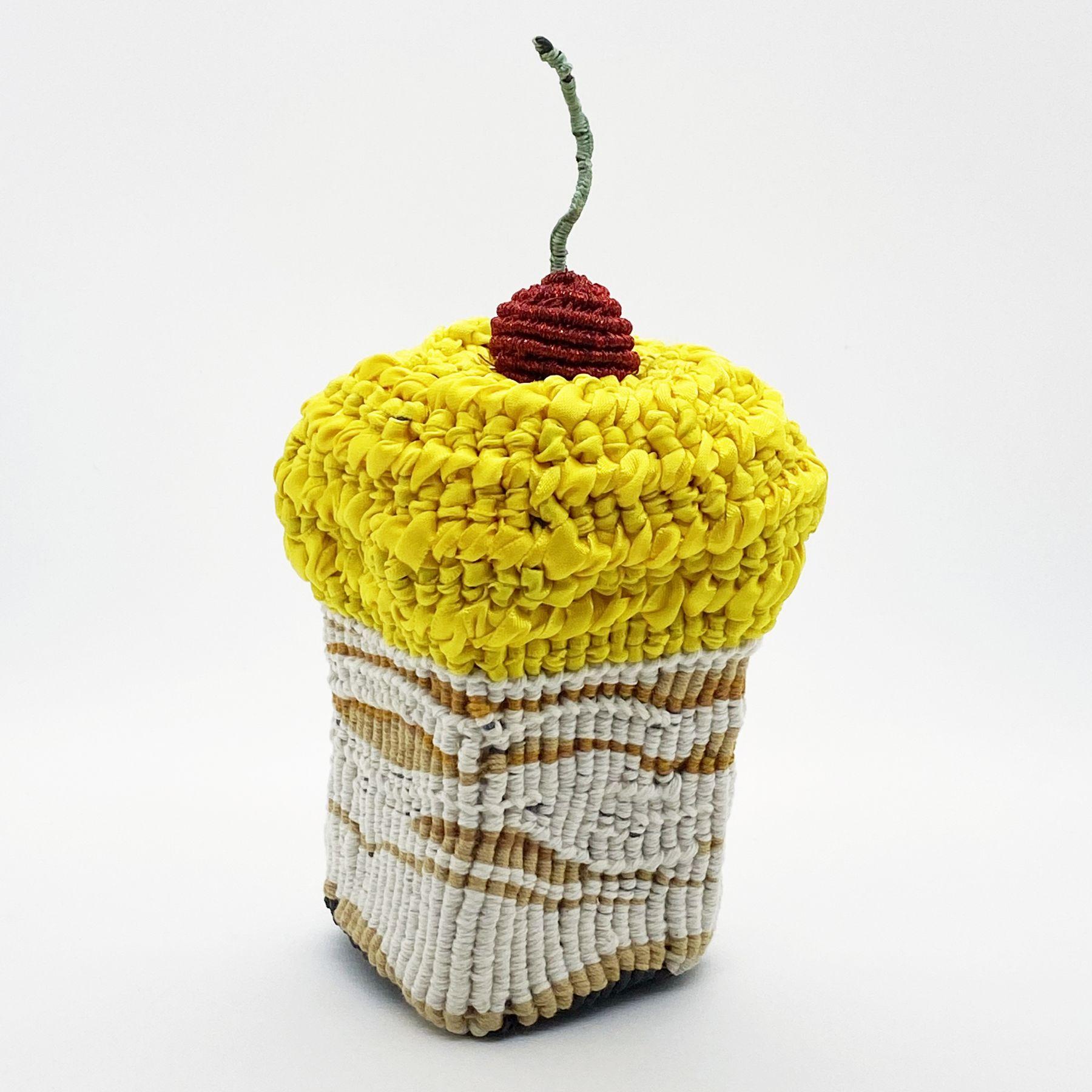 "Lemon Icing, 8"" x 4"" x 4"", Cotton, Ribbon, Metallic Thread And Polyester Cording"