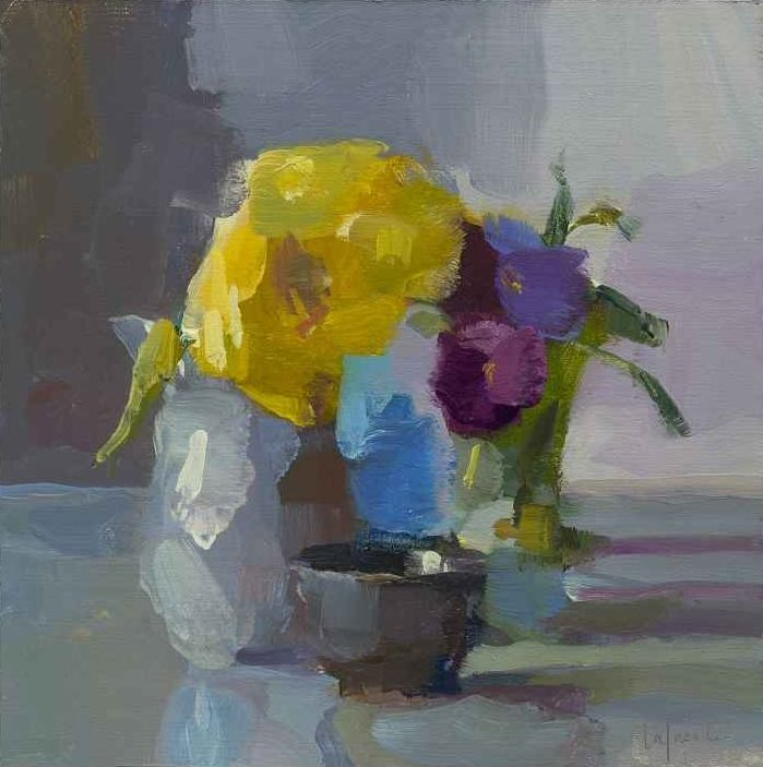 """Pansies And Yellow Dahlia, 10"""" x 10"""", Oil On Mounted Linen"""