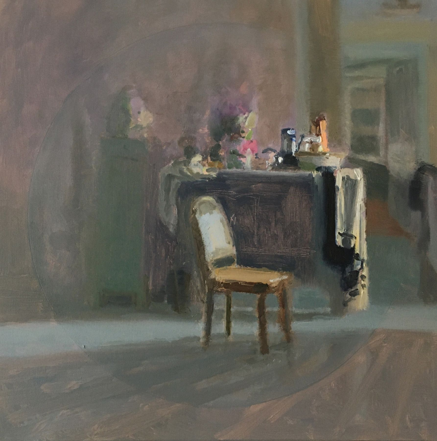 """Interior Still Life With Chair And Drapery, 14"""" x 13.75"""", Oil On Panel"""