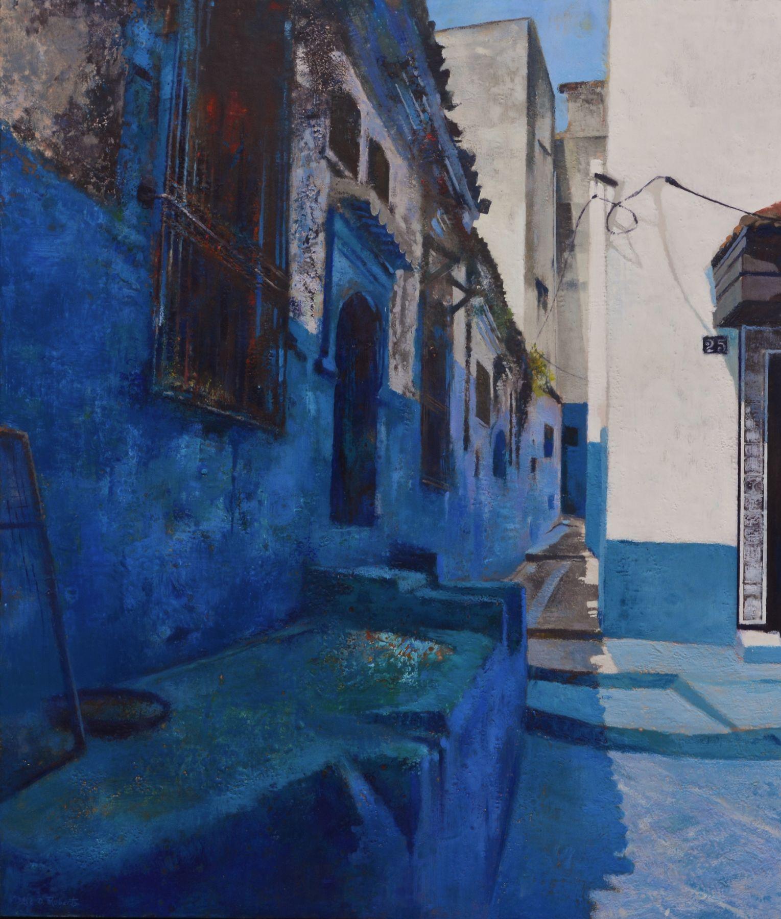 "Morrocan Blues, 42"" x 36"", Encaustic"