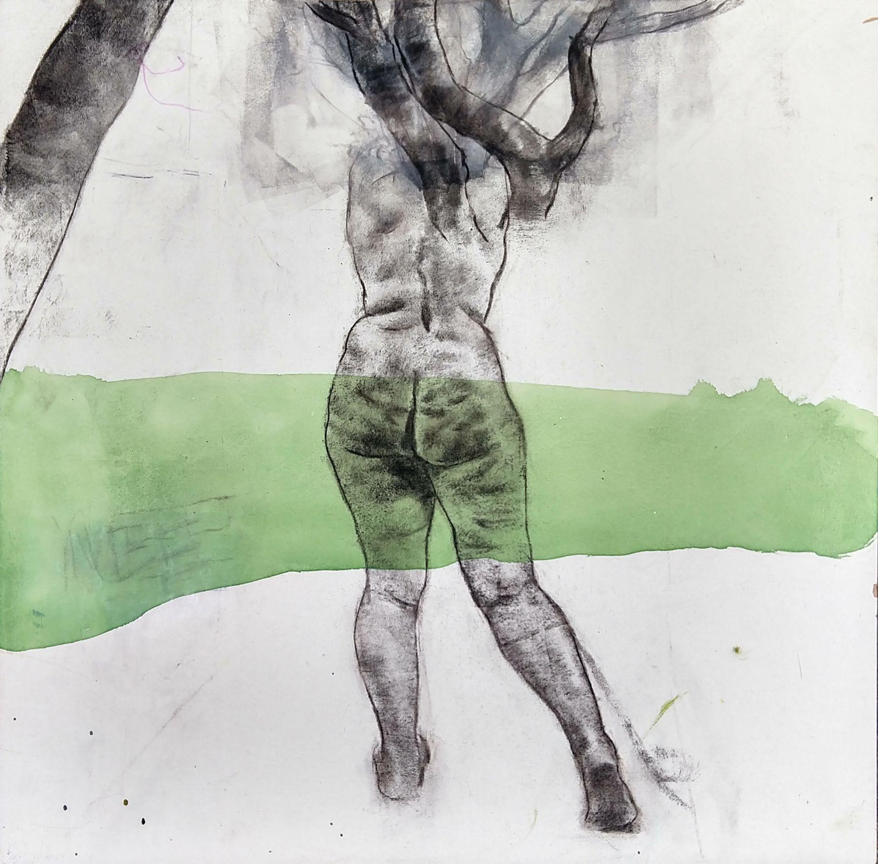 "Daphnee, 20"" x 20"", Charcoal, Ink And Acrylic Polymer On Panel"