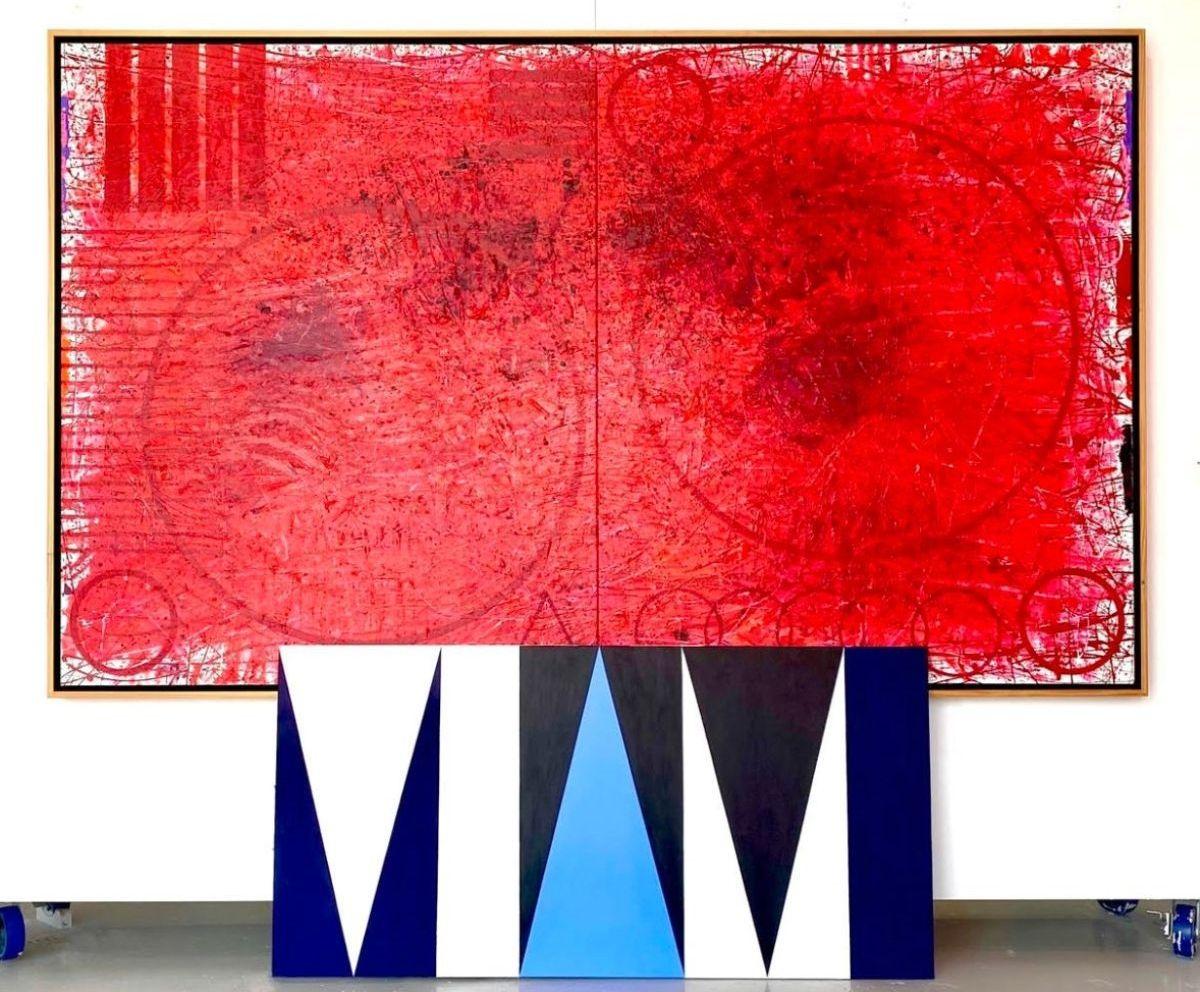 "J. Steven Manolis, REDWORLD Concentric 2019, 72""H X 120""W, Acrylic on canvas $125,000 Frontwork, Ron Burkhardt, Miami Blues 2020, 36""H X 72""W; Acrylic in canvas $55,000"