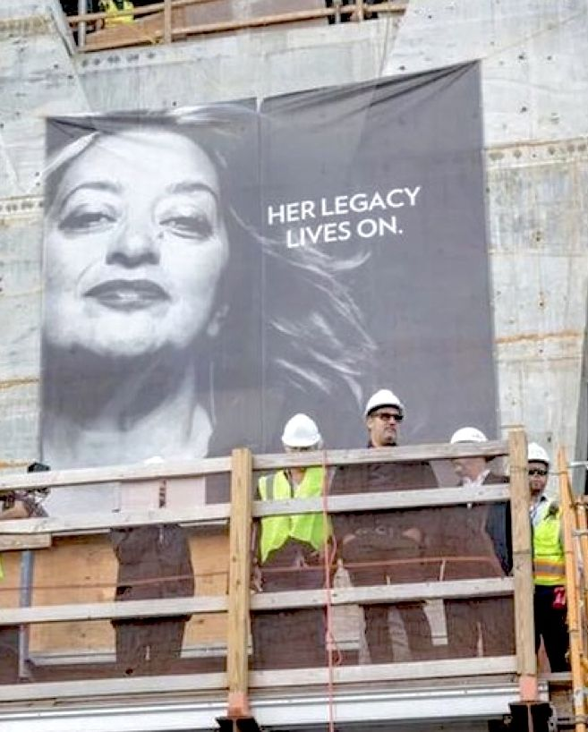 Zaha Hadid- her legacy lives on. Image on the side of 1000 Museum Building in Miami, Florida.
