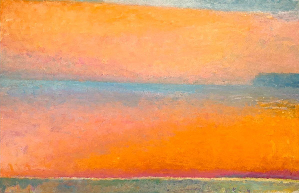 "Cadmium Orange Haze; 42""H X 60""W; Oil on canvas."