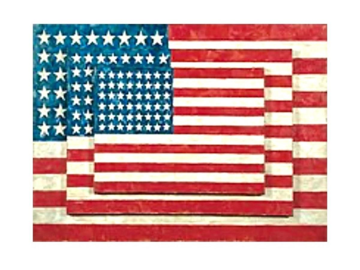 """asper Johns, Three Flags, 1958, 31""""H X 45""""W; Mixed media on canvas, Permanent Collection of The Whitney Museum of American Art"""