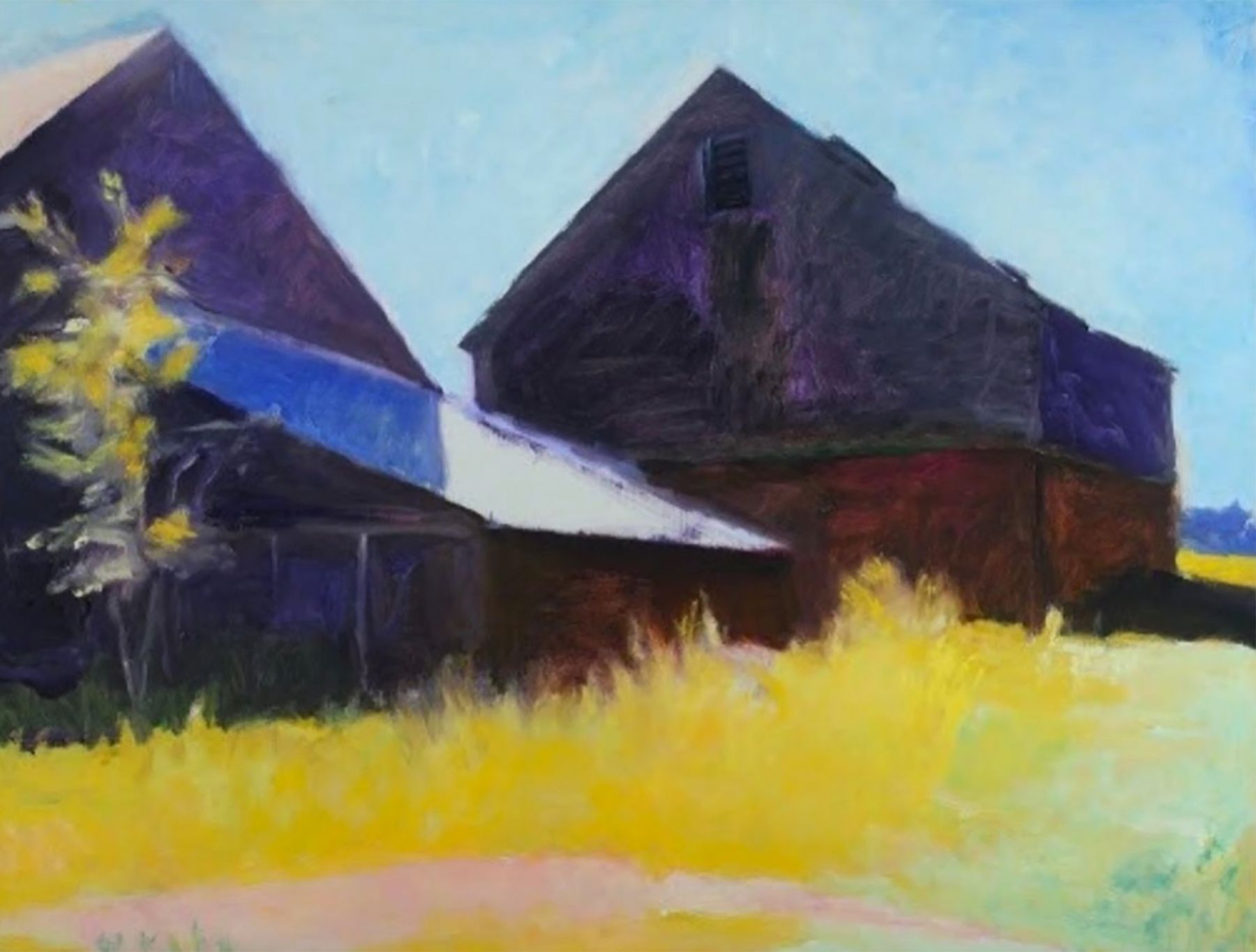 Triple Barns by Wolf Kahn