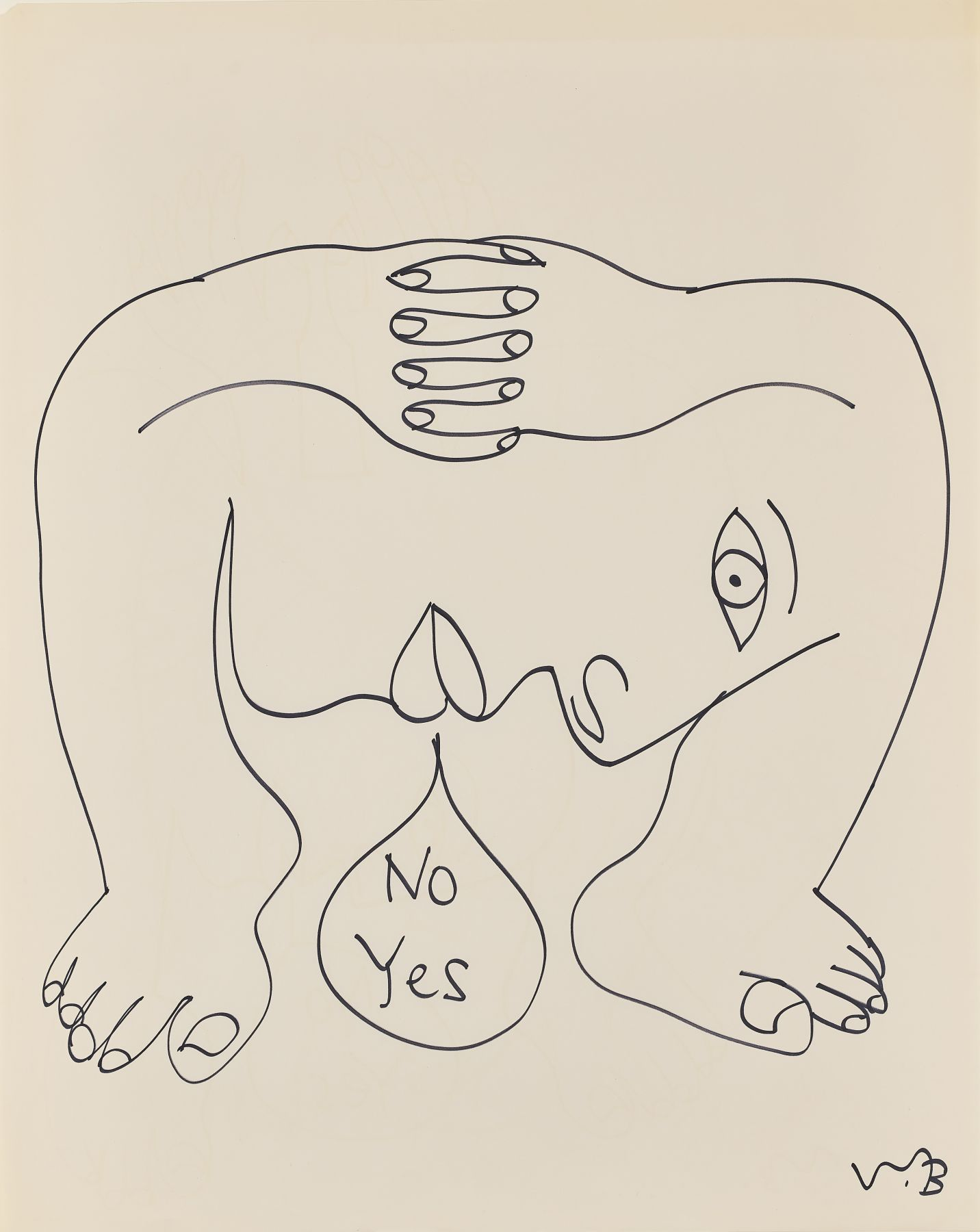 Walter Battiss - Untitled (No Yes, large profile under clasped hands)