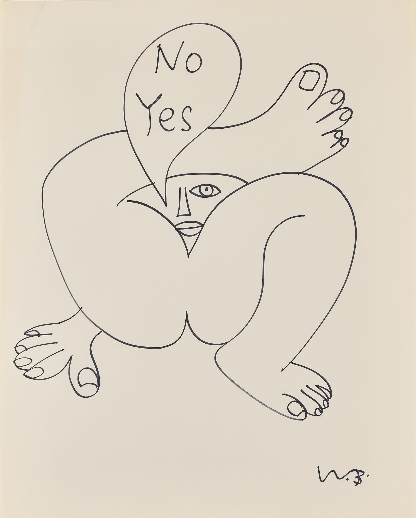 Walter Battiss - Untitled (No Yes, face through crossed legs), 1970