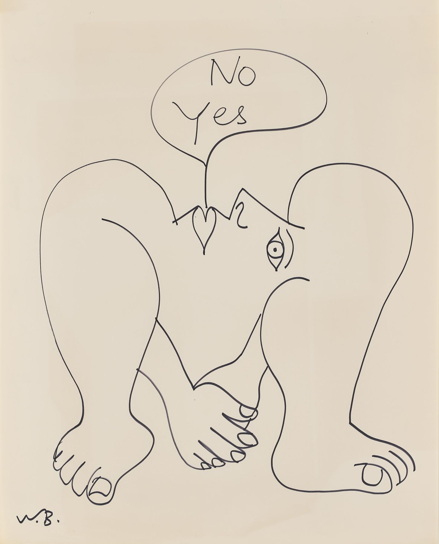 Walter battiss - Untitled (No Yes, hand over hand, below profile)