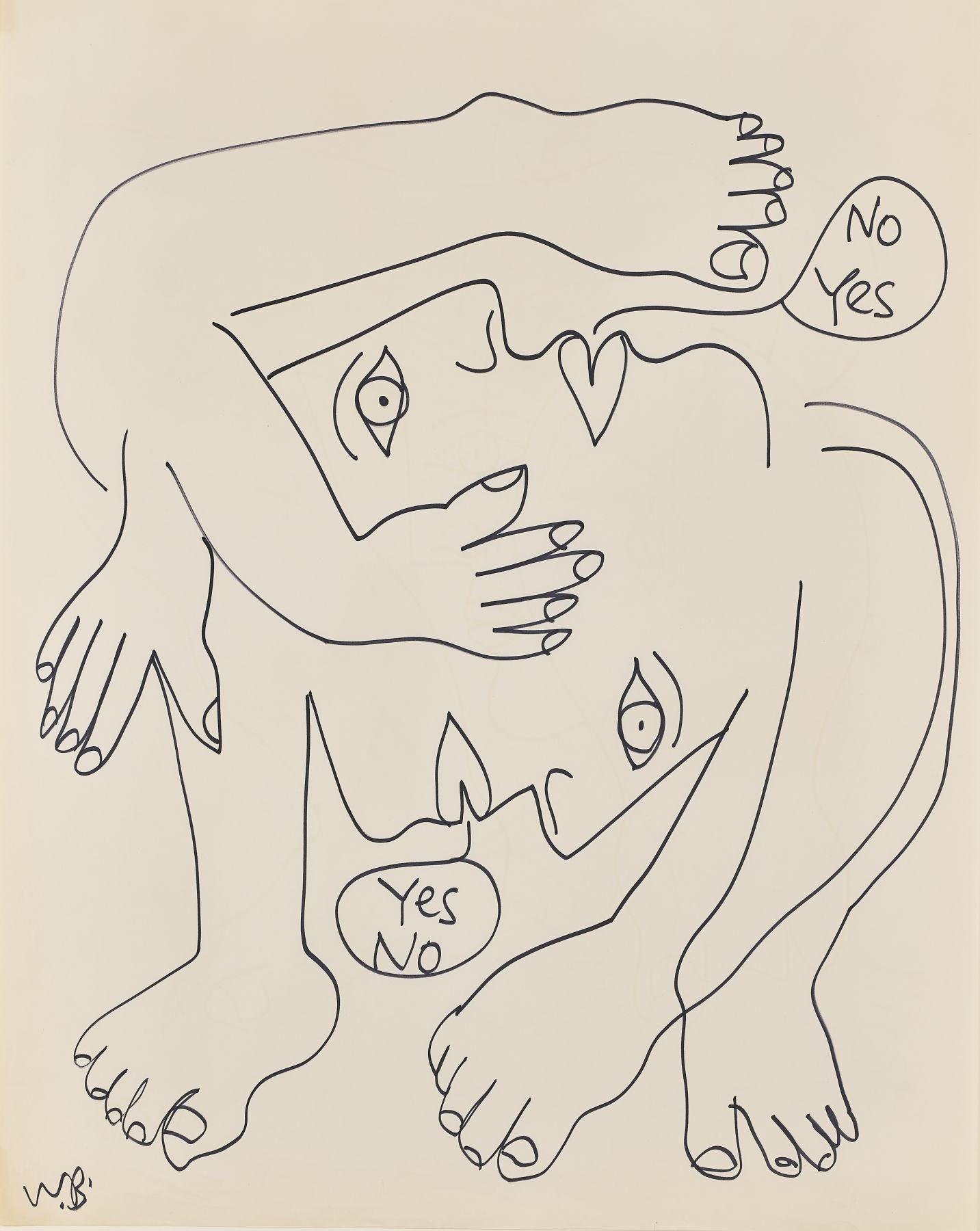 Walter Battiss - Untitled (No Yes, Yes No), 1970