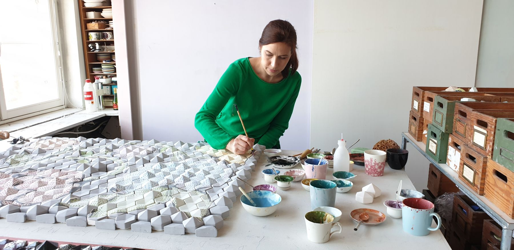 Heini Riitahuhta in the studio