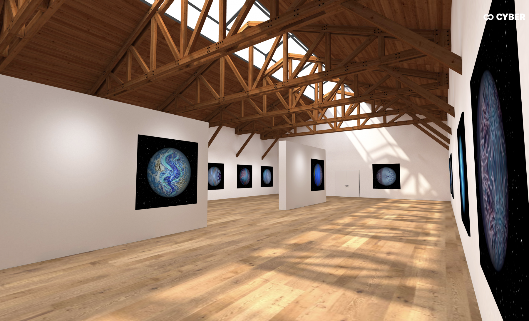 Metaverse OnCyber Gallery space featuring NFTs by Nikolina Kovalenko.