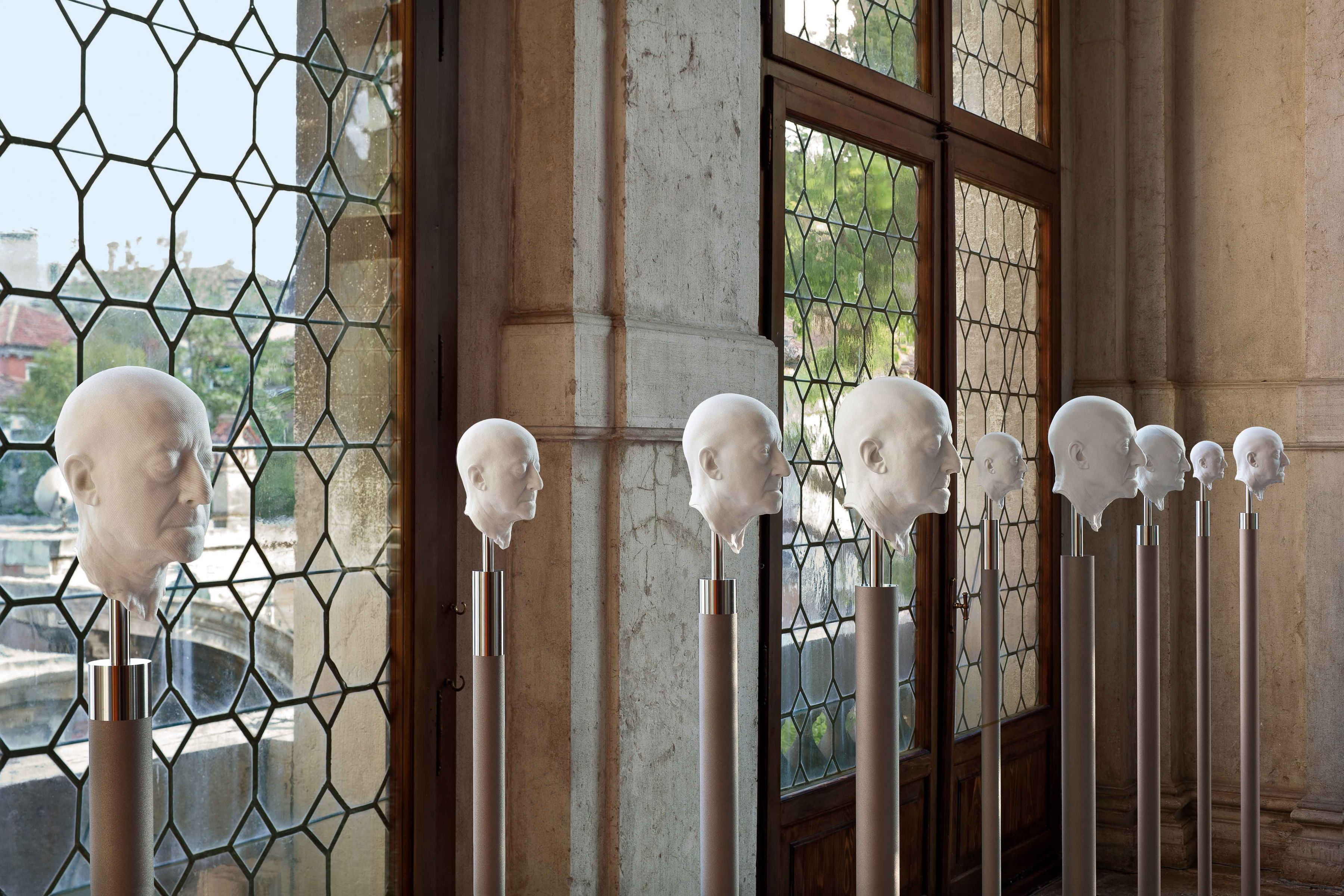 Barry X Ball_Pseudogroup of Giuseppe Panza in Macedonian White Marble_The Grand Staircase (Landing) — Ca' Rezzonico, Venice