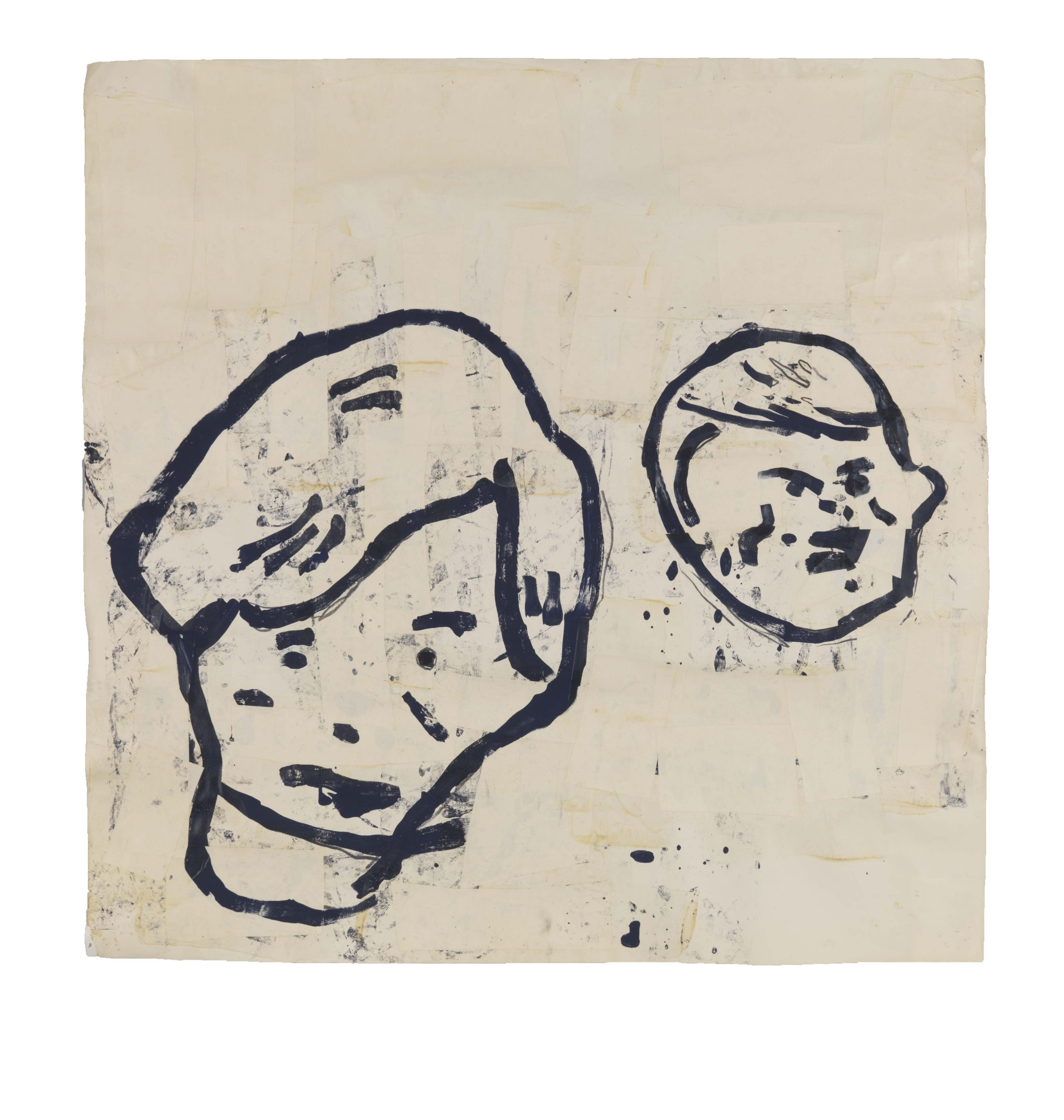 Untitled (2 Boys), 1983, Acrylic, tempera, graphite and paper collage on paper