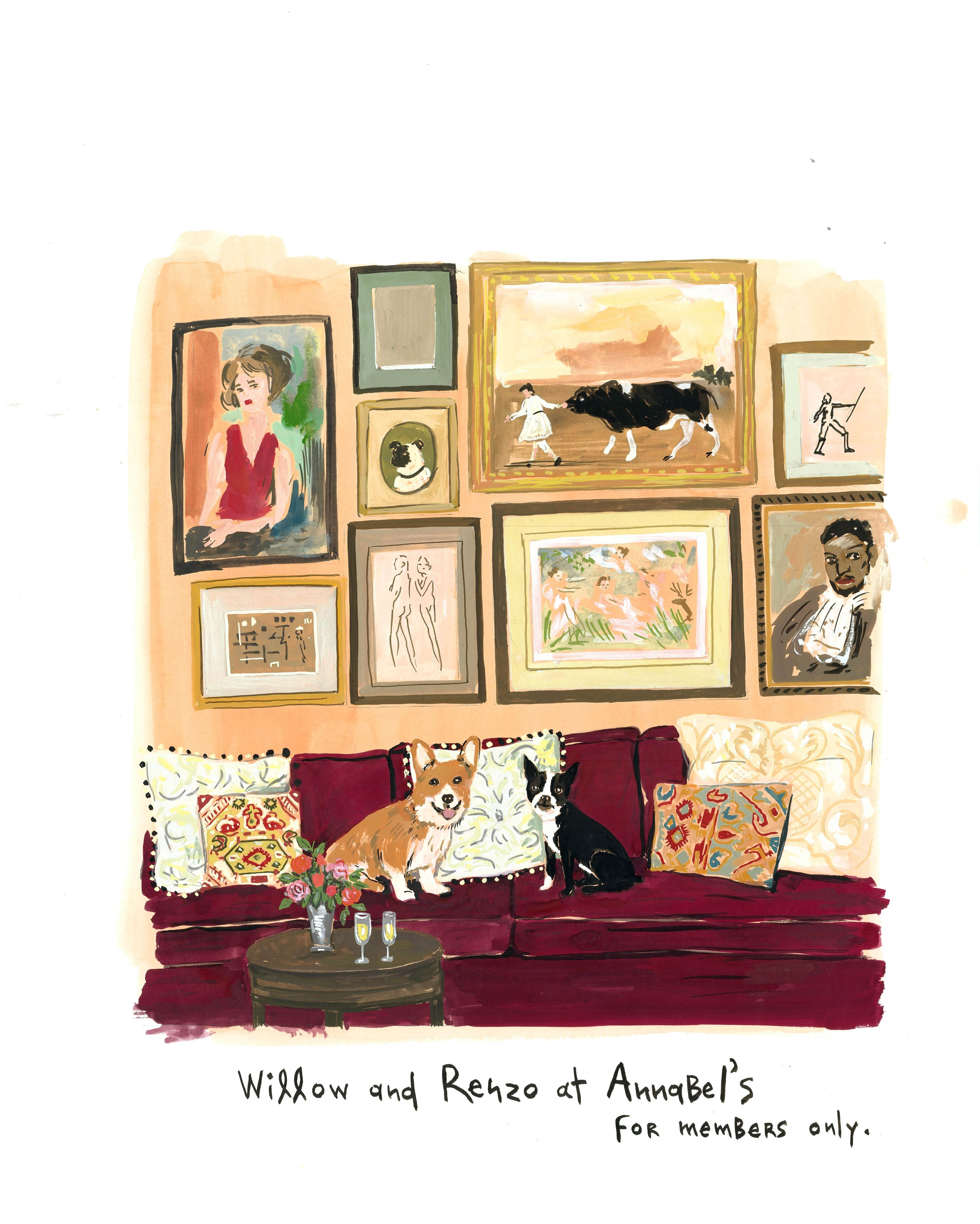 At Annabel's, 2014, Gouache on paper