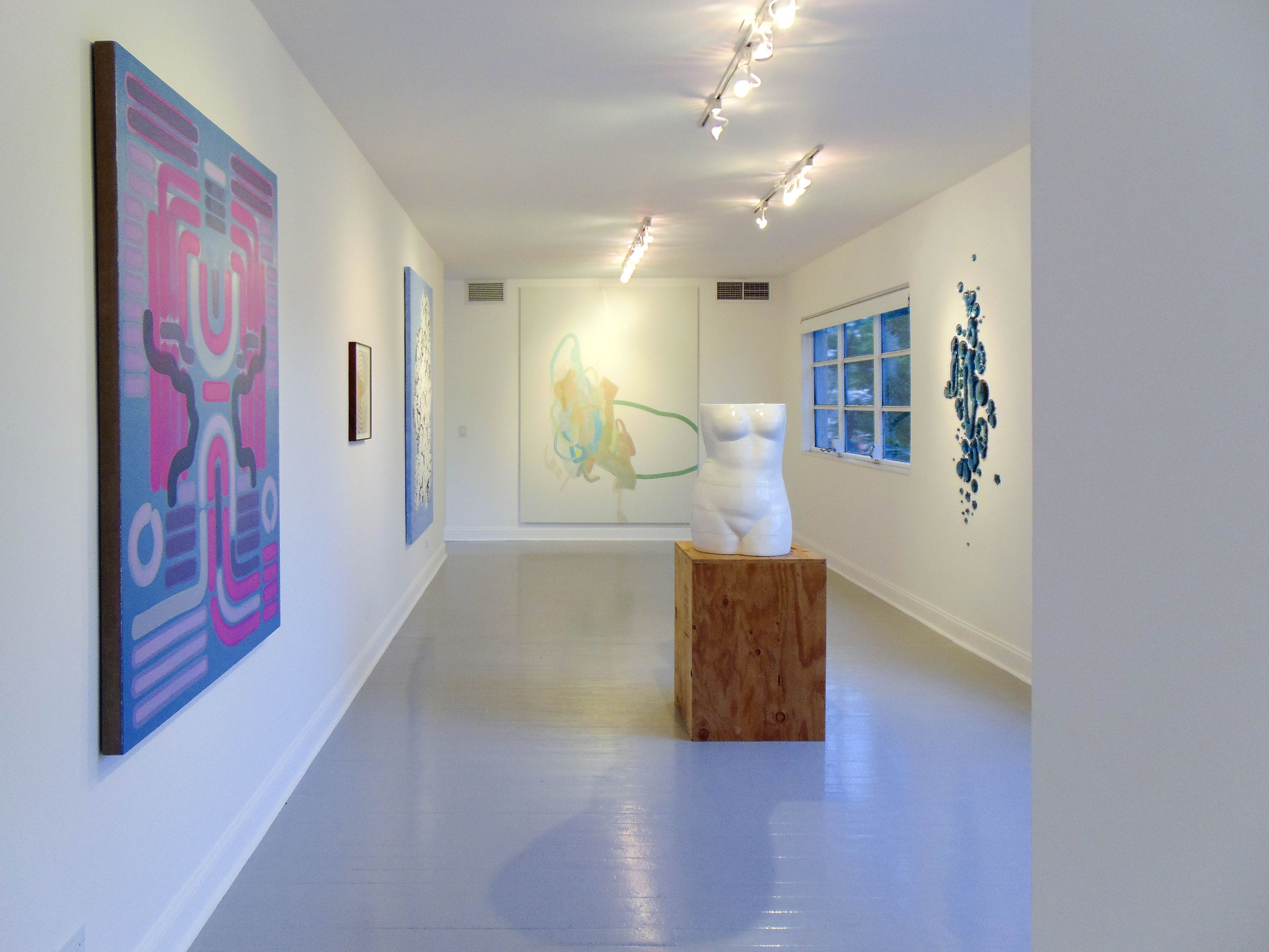 Lily Stockman, Andrew Brischler, Florence Derive, Michael Manning, Amy Bessone, and Rob Wynne on view during Judith Eisler Gloria (from Left to Right)