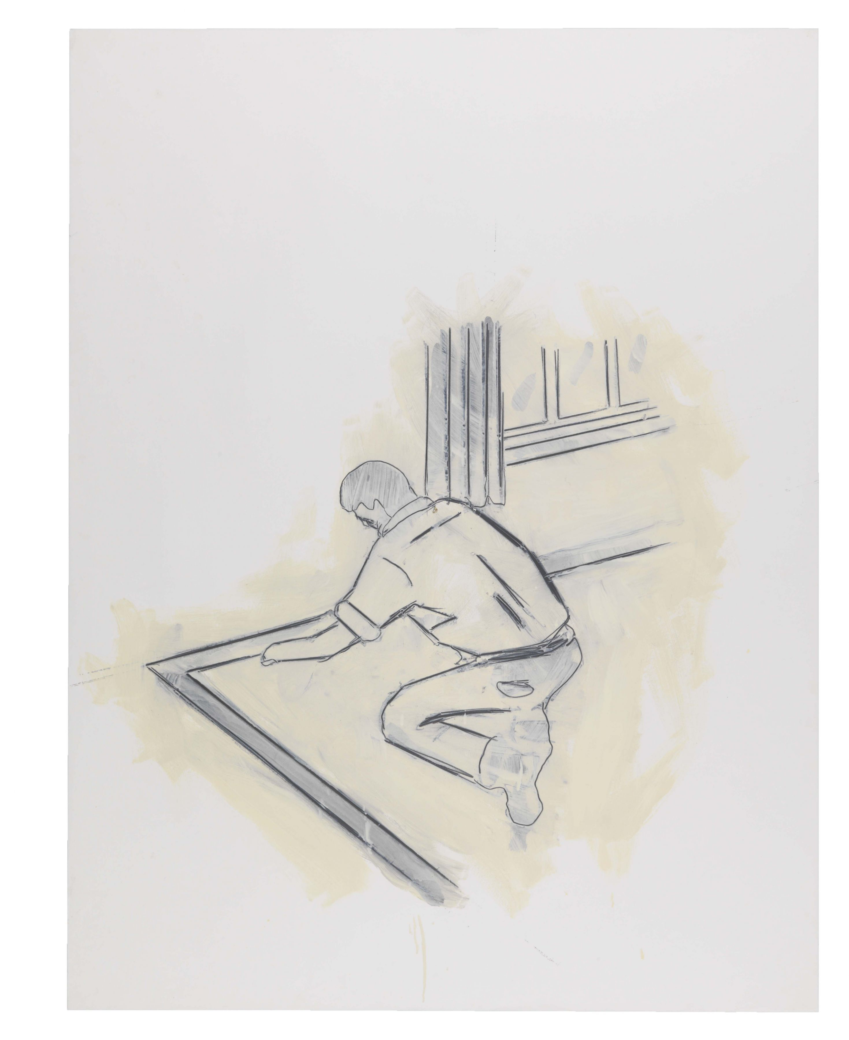 They Work, They Serve, 1981, Graphite and oil-based enamel on paper