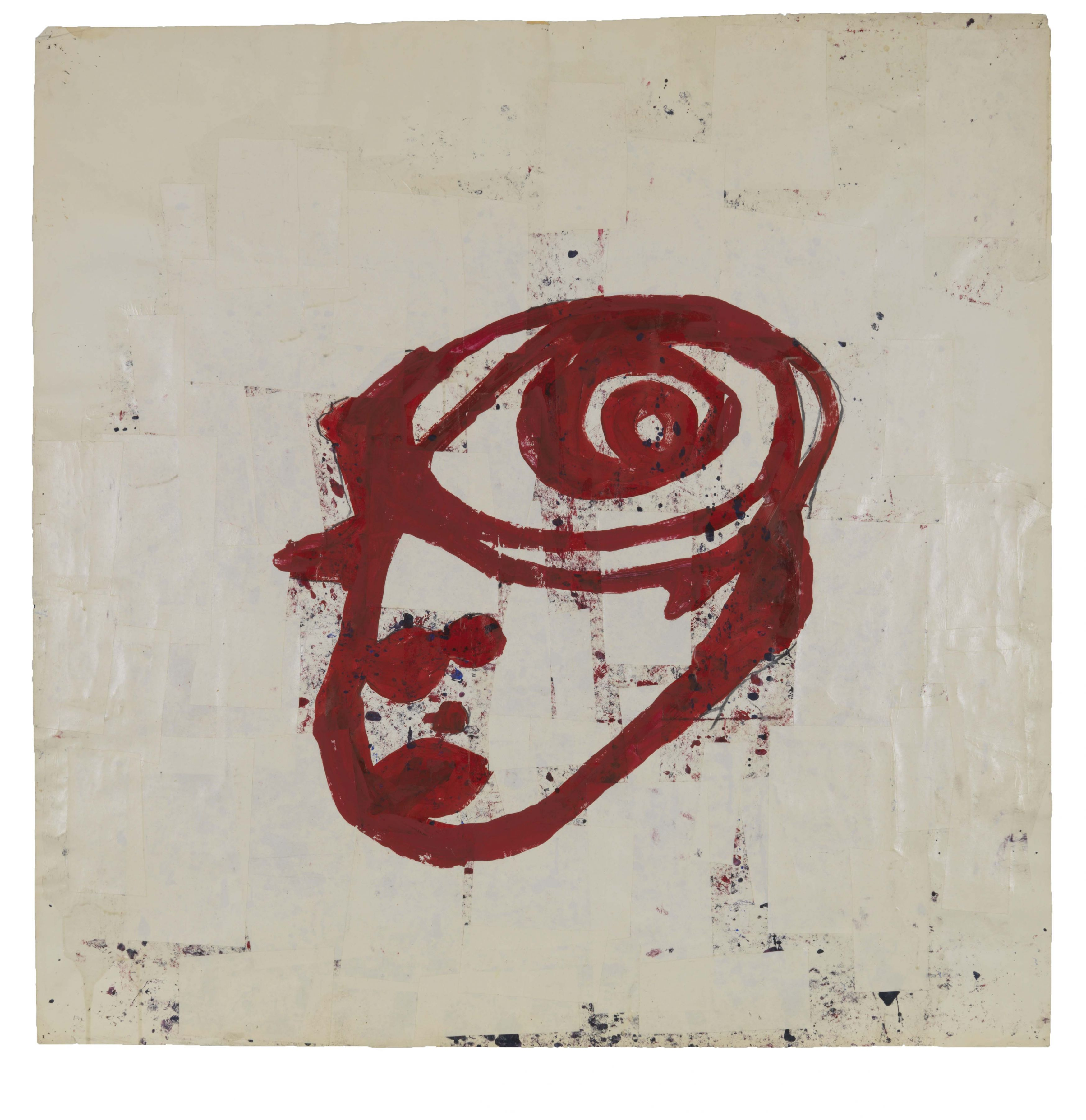 Untitled (Spiral Head), 1983, Graphite, tempera and paper collage on paper