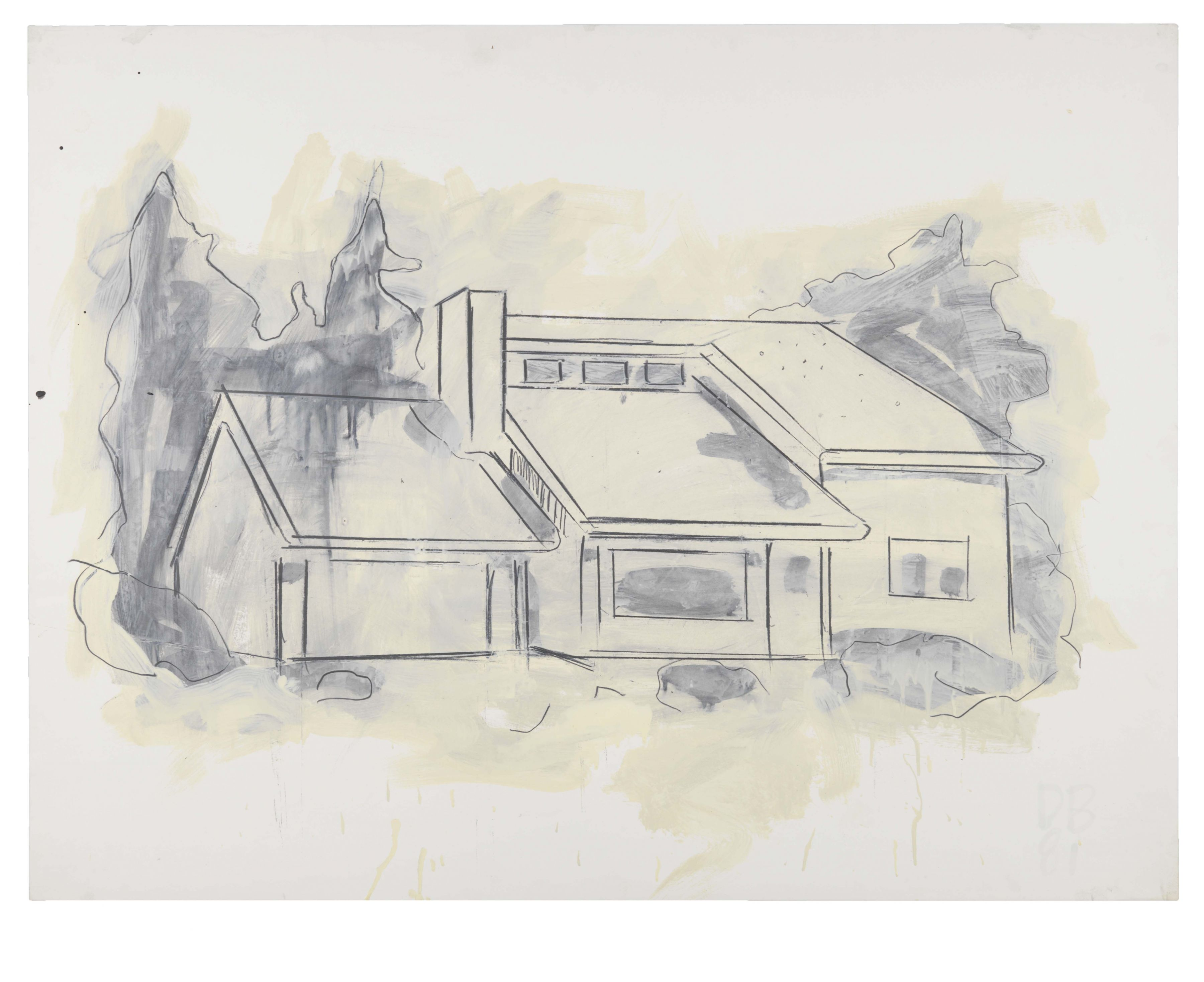 Suburban House Drawing, 1981, Graphite and oil-based enamel on paper
