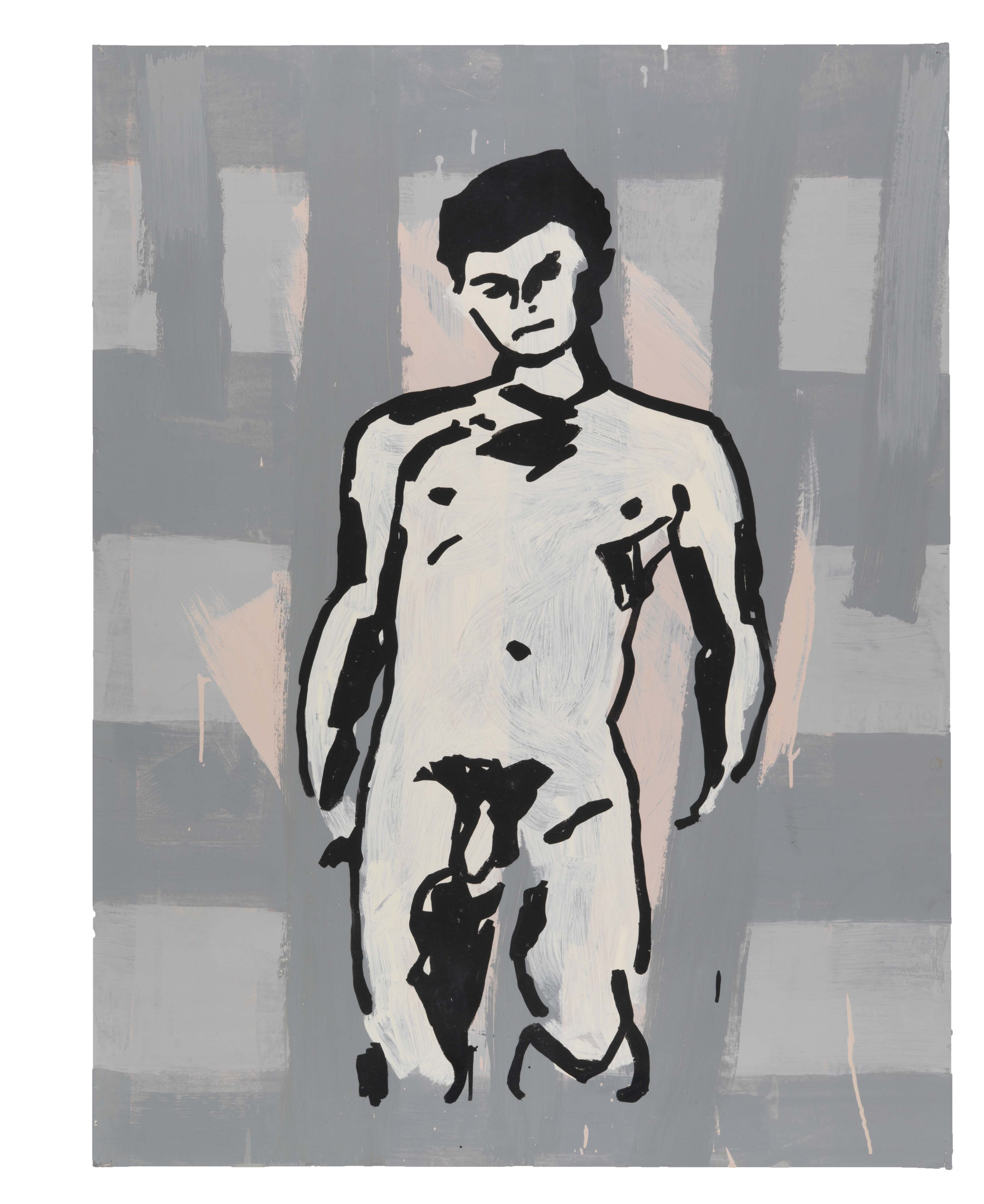 Untitled (Study for Portrait of Antinous), 1982, Oil based enamel on paper