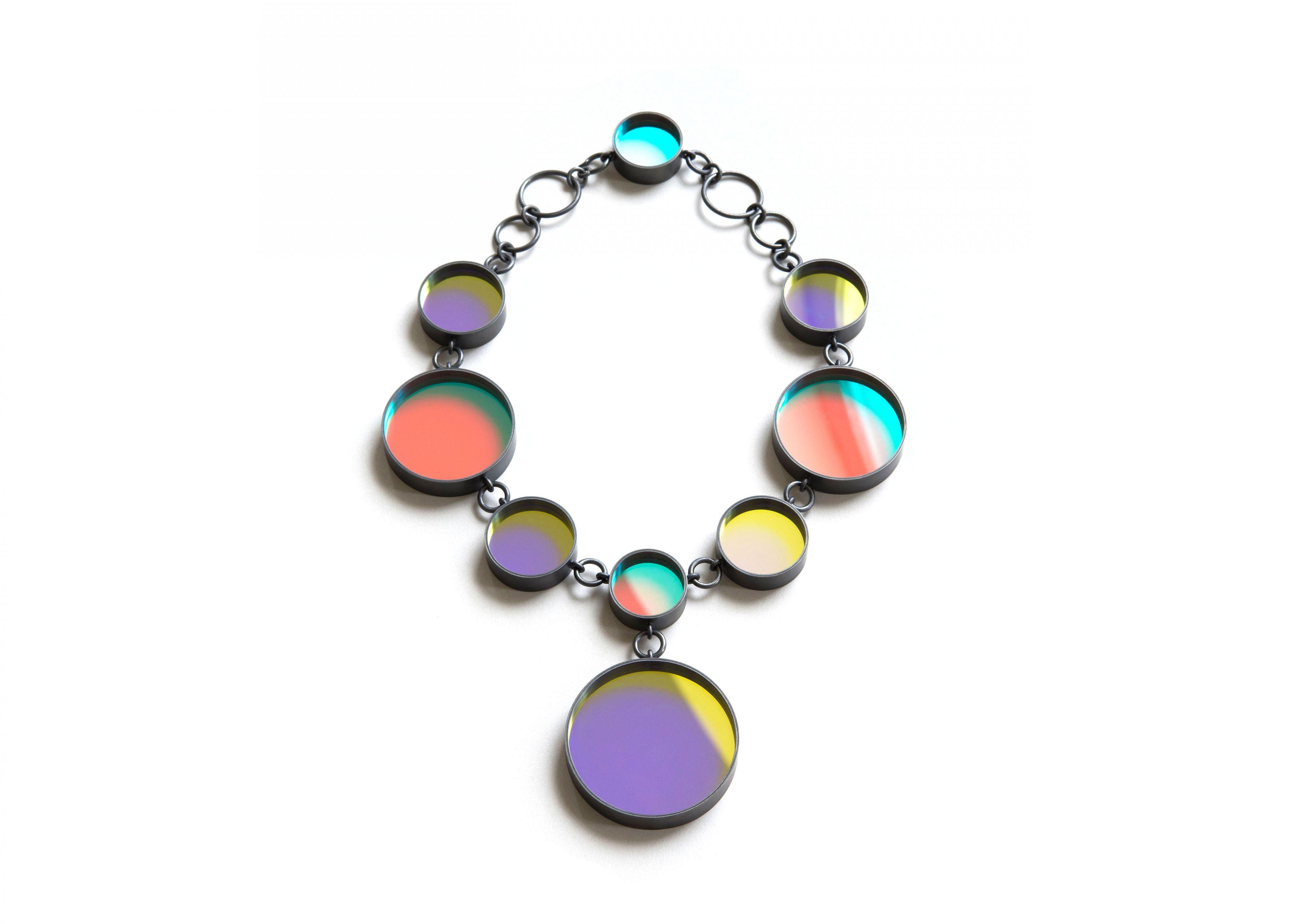 Jiro Kamata, glass jewelry, contemporary, dichroic mirror, necklace