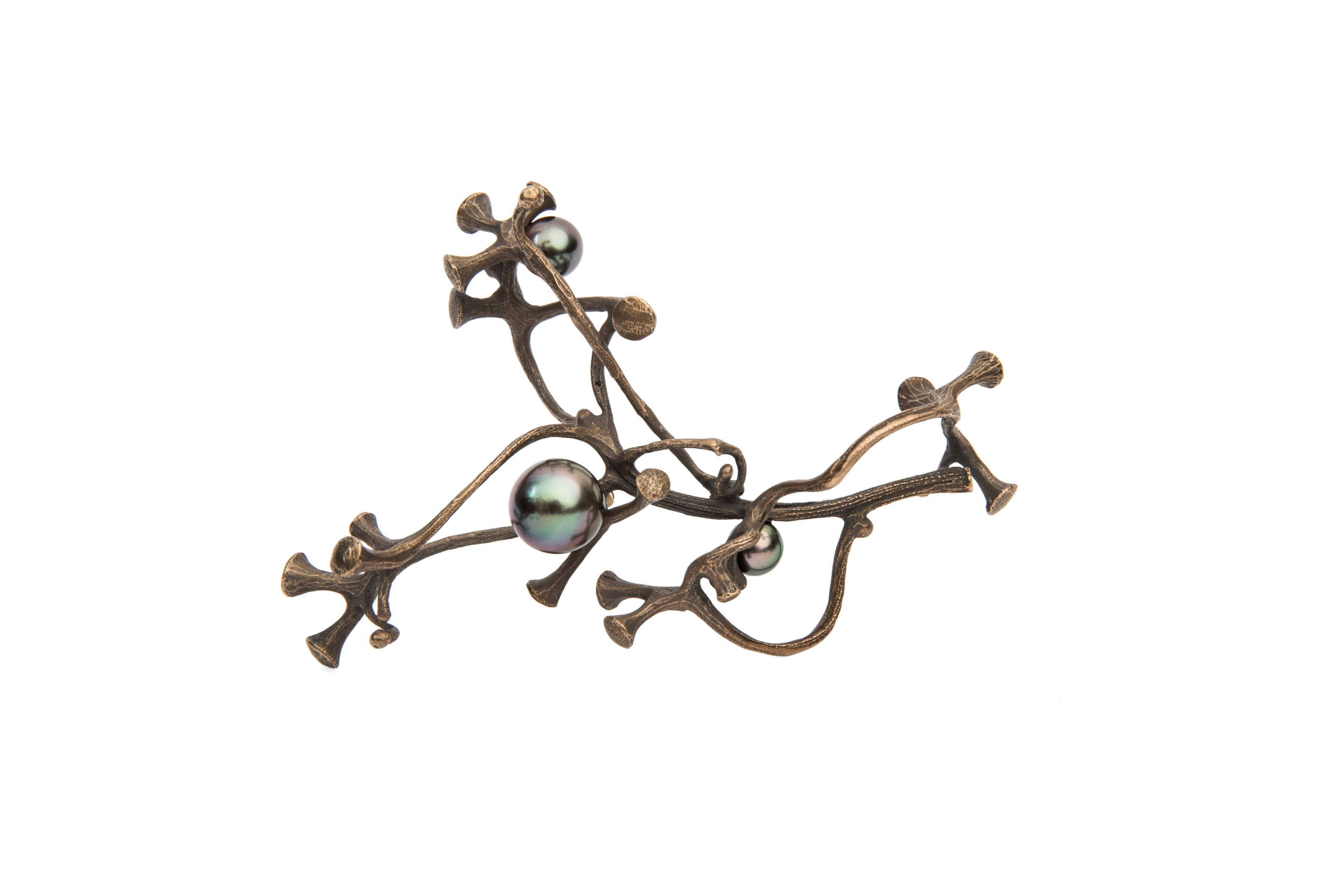 John Iversen bronze, pearl, brooch