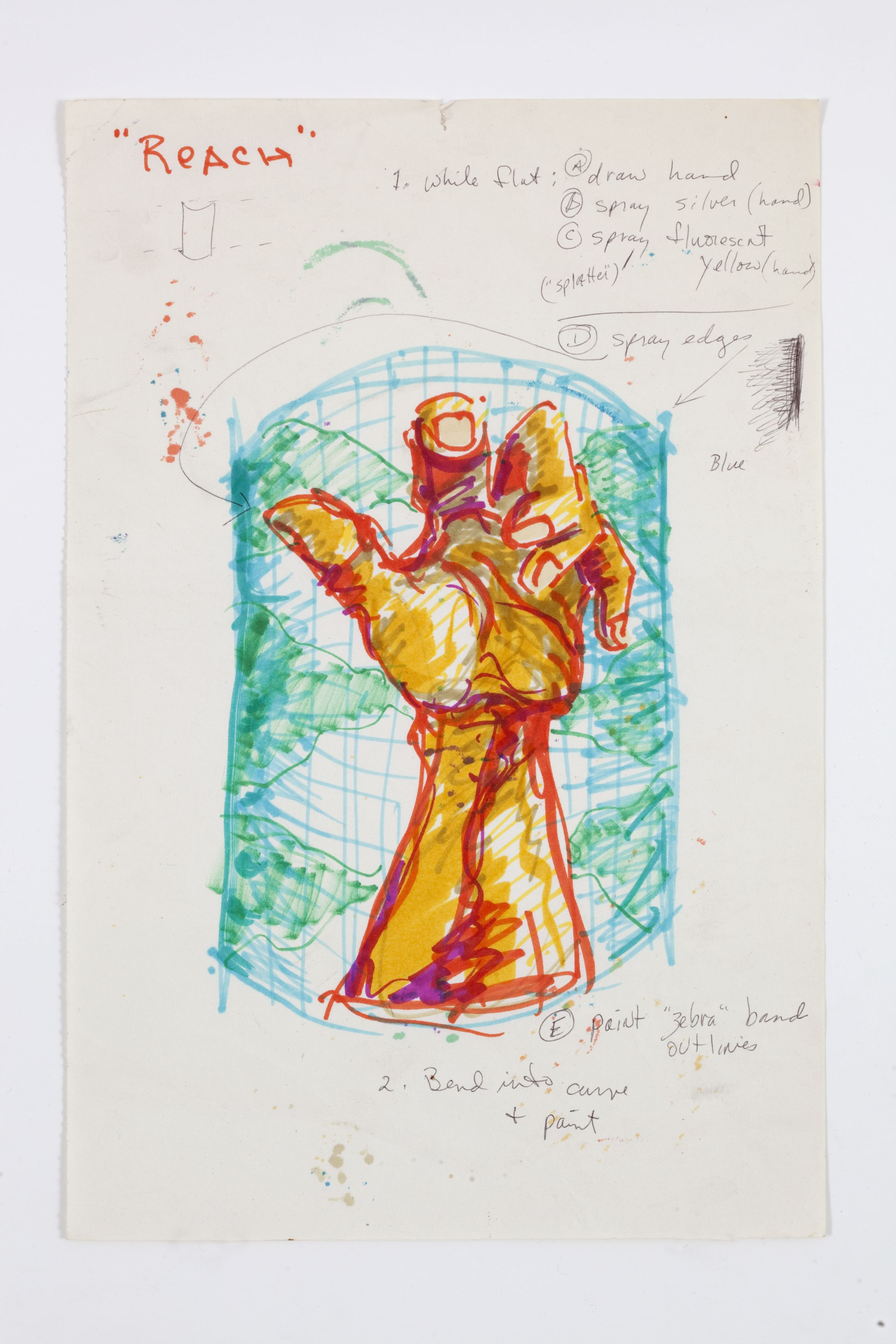 Paul Sharits, Reach, mixed media on paper, 11 1/2 x 7 3/4 inches