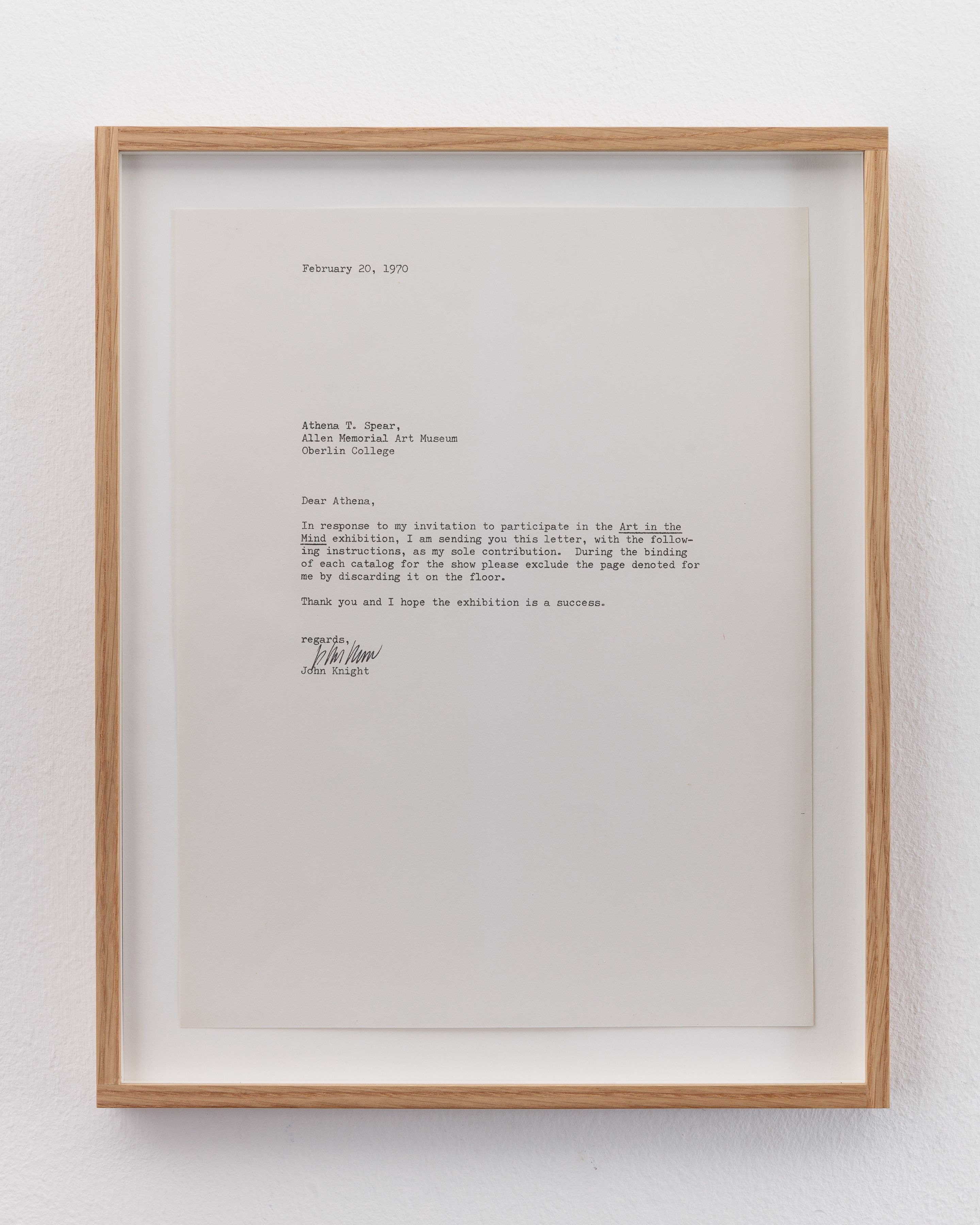 John Knight  Proposal to the curators of the exhibition 'Art In The Mind', 1970  Ink on paper  8 ½ x 11 inches (21.59 x 27.94 cm)