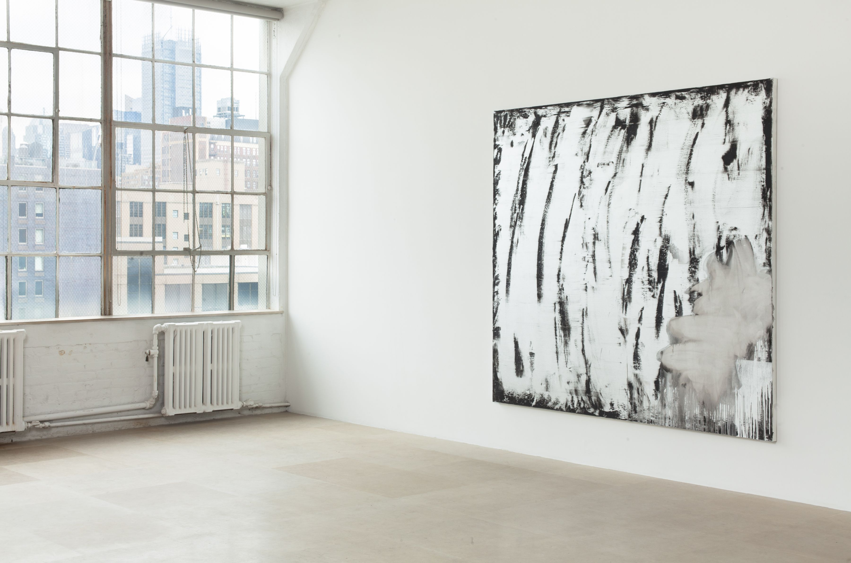 Jacqueline Humphries, Untitled, 2011, oil on canvas, 80 x 87 inches, Installation view, Greene Naftali, New York, 2012