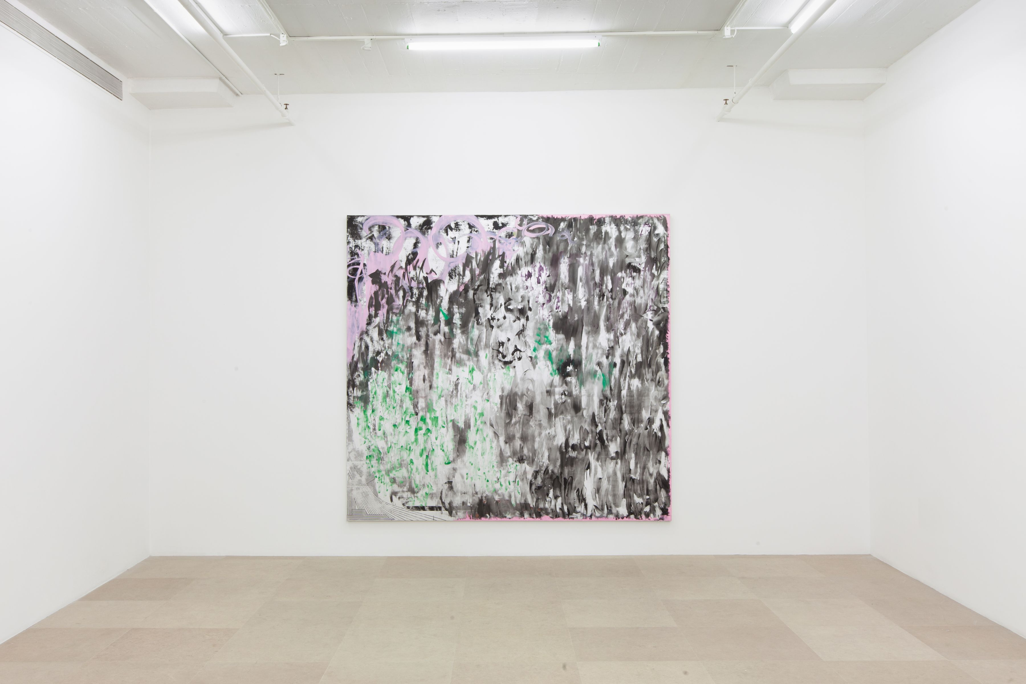 Jacqueline Humphries, Untitled, 2011, oil on canvas, 90 x 96 inches, Installation view, Greene Naftali, New York, 2012