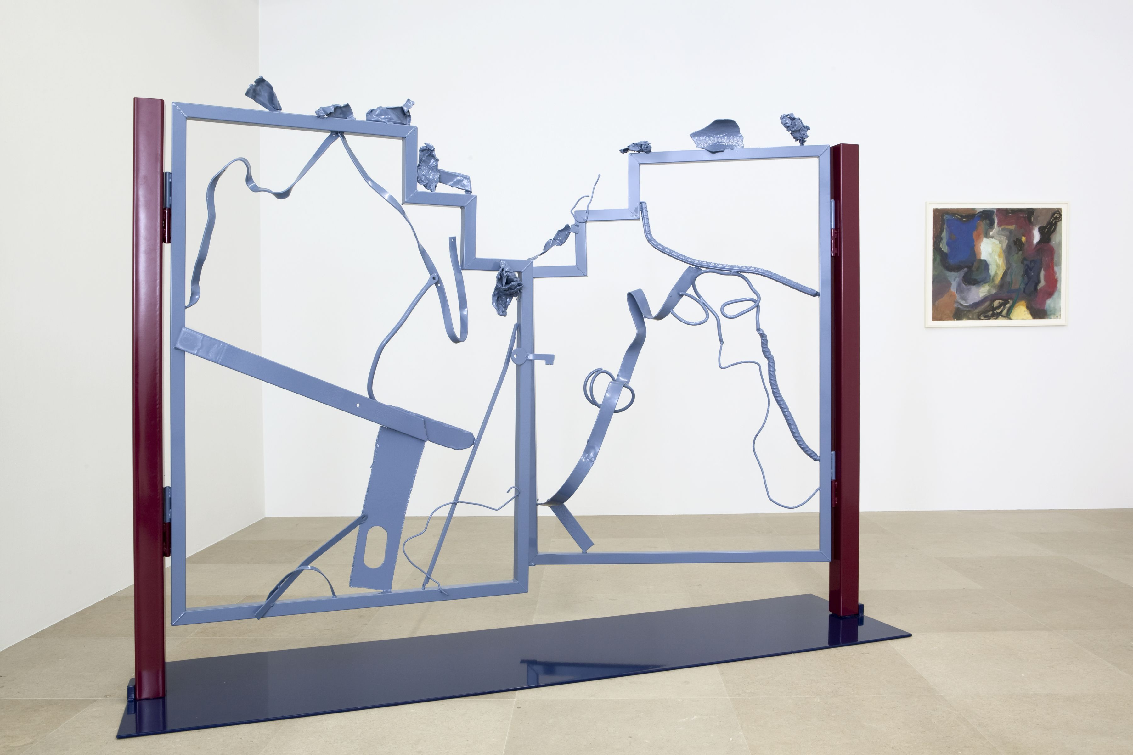 Ida Ekblad, Untitled, 2011, Steel and lacquer, 72 1/2 x 98 1/2 x 24 3/4 inches, Installation view, Greene Naftali, New York, 2011