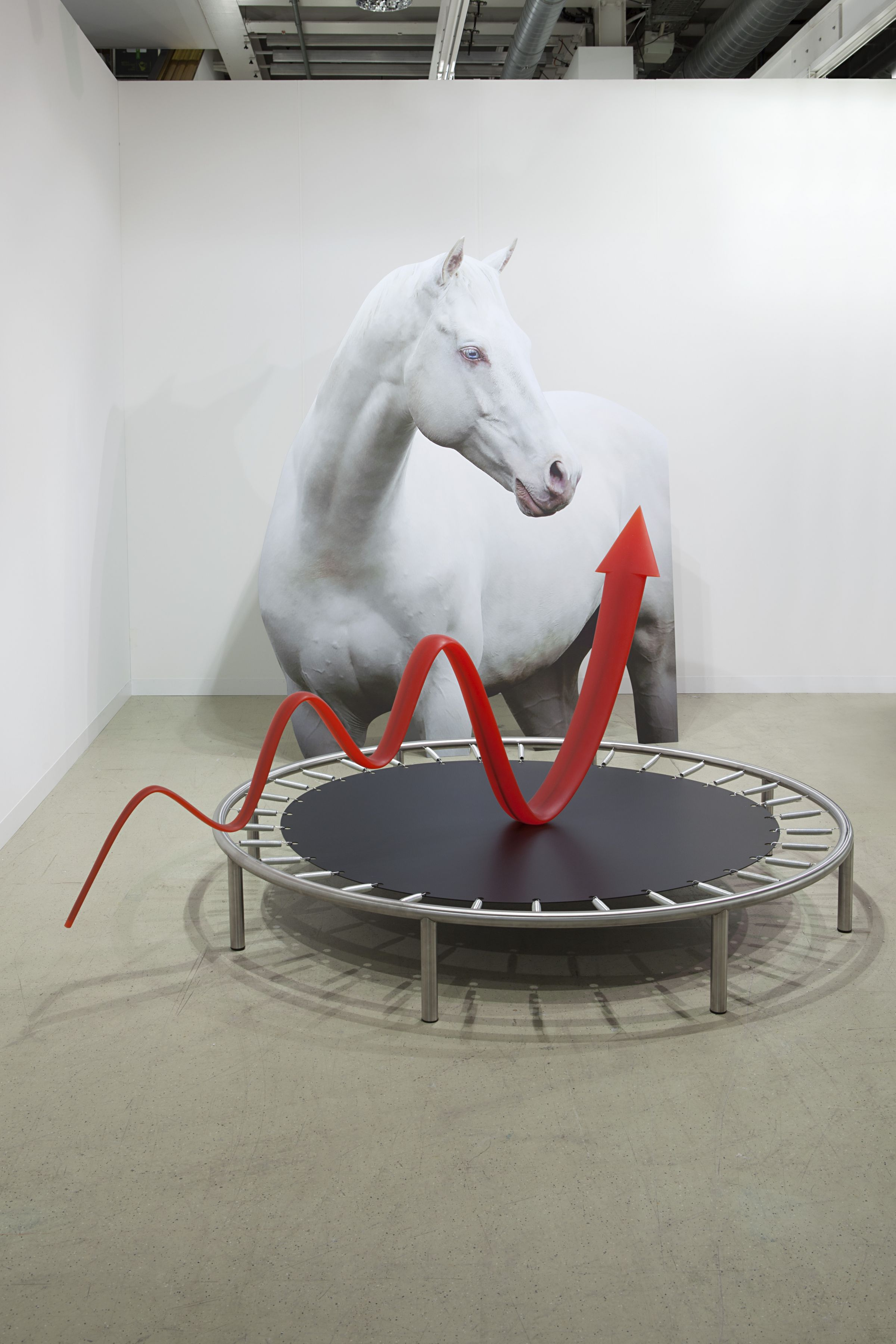 Pattern of Activation, 2014 digital print on aluminum, cutout display; polyurethane, steel; aluminum, stainless steel cutout display, 250 x 200 x 35 cm trampoline and arrow sculpture, 145 x 250 x 200 cm
