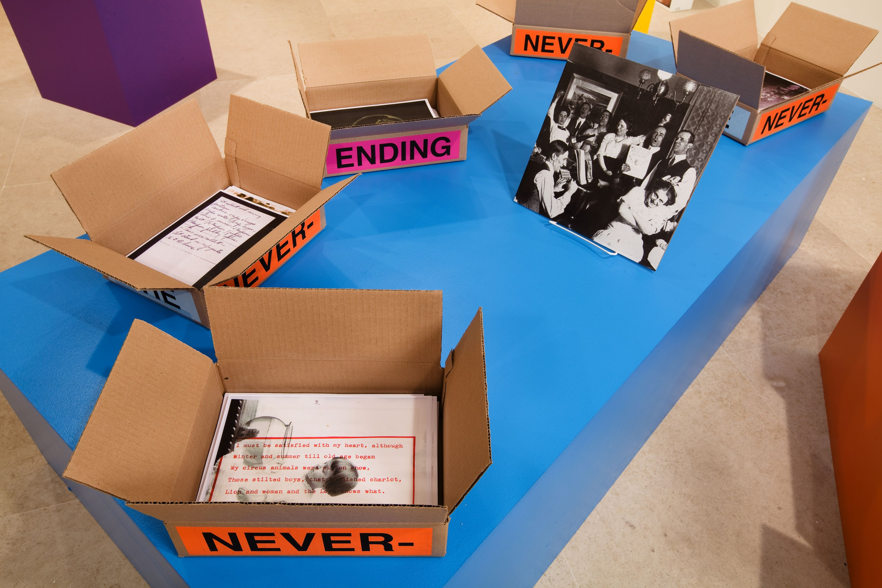 Allen Ruppersberg The Never Ending Book Part Two/Art and Therefore Ourselves 2009   color copies, cardboard boxes, artist's records 5 lightboxes banner letterpress posters and 17 furniture elements  overall dimensions variable