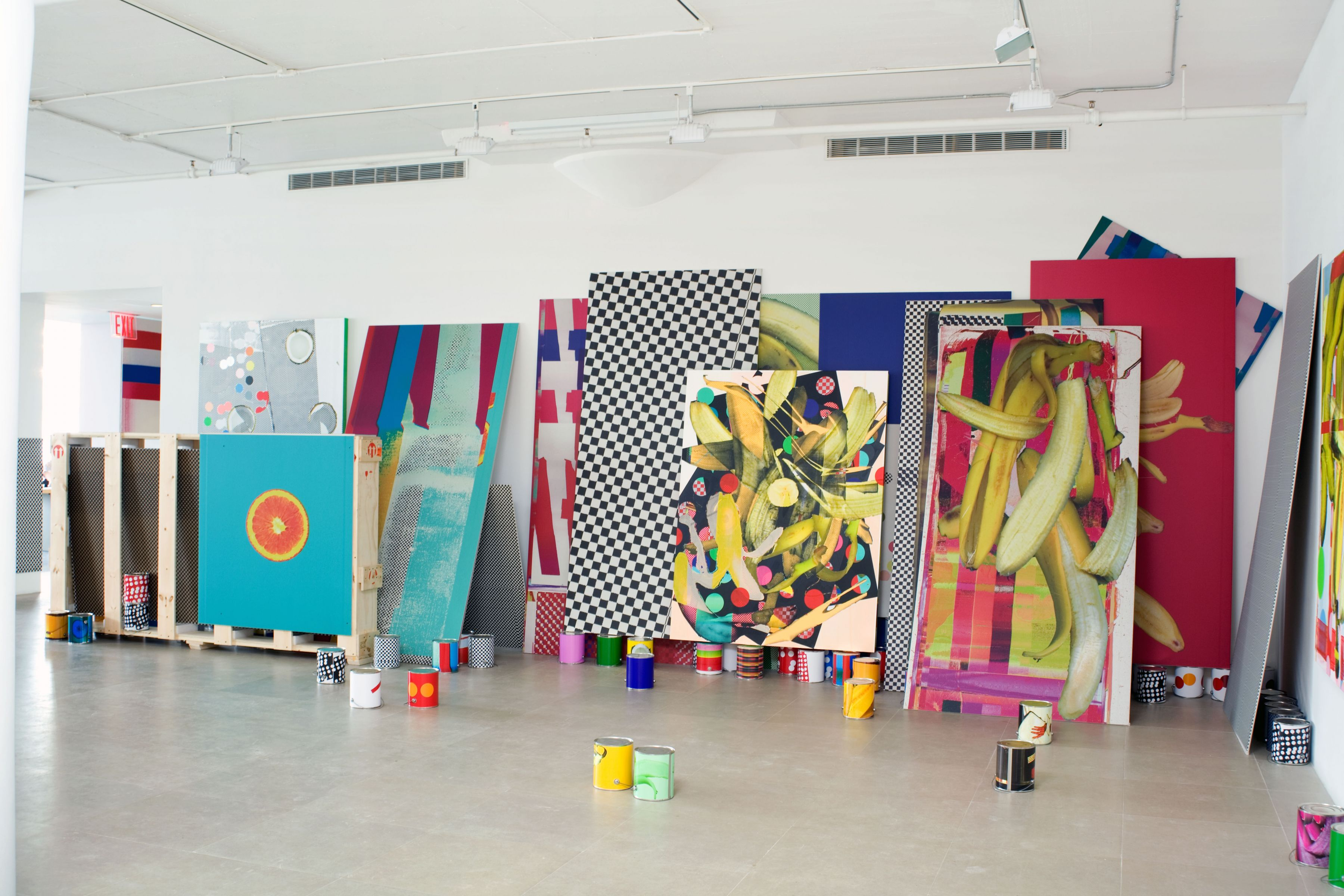 Guyton\ Walker Untitled, 2009 paint, silkscreen, and inkjet print on canvas, inkjet print on drywall, inkjet prints on paint cans, and crate with printed drywall 114 x 320 x 70 inches overall 289.6 x 812.8 x 177.8 cm
