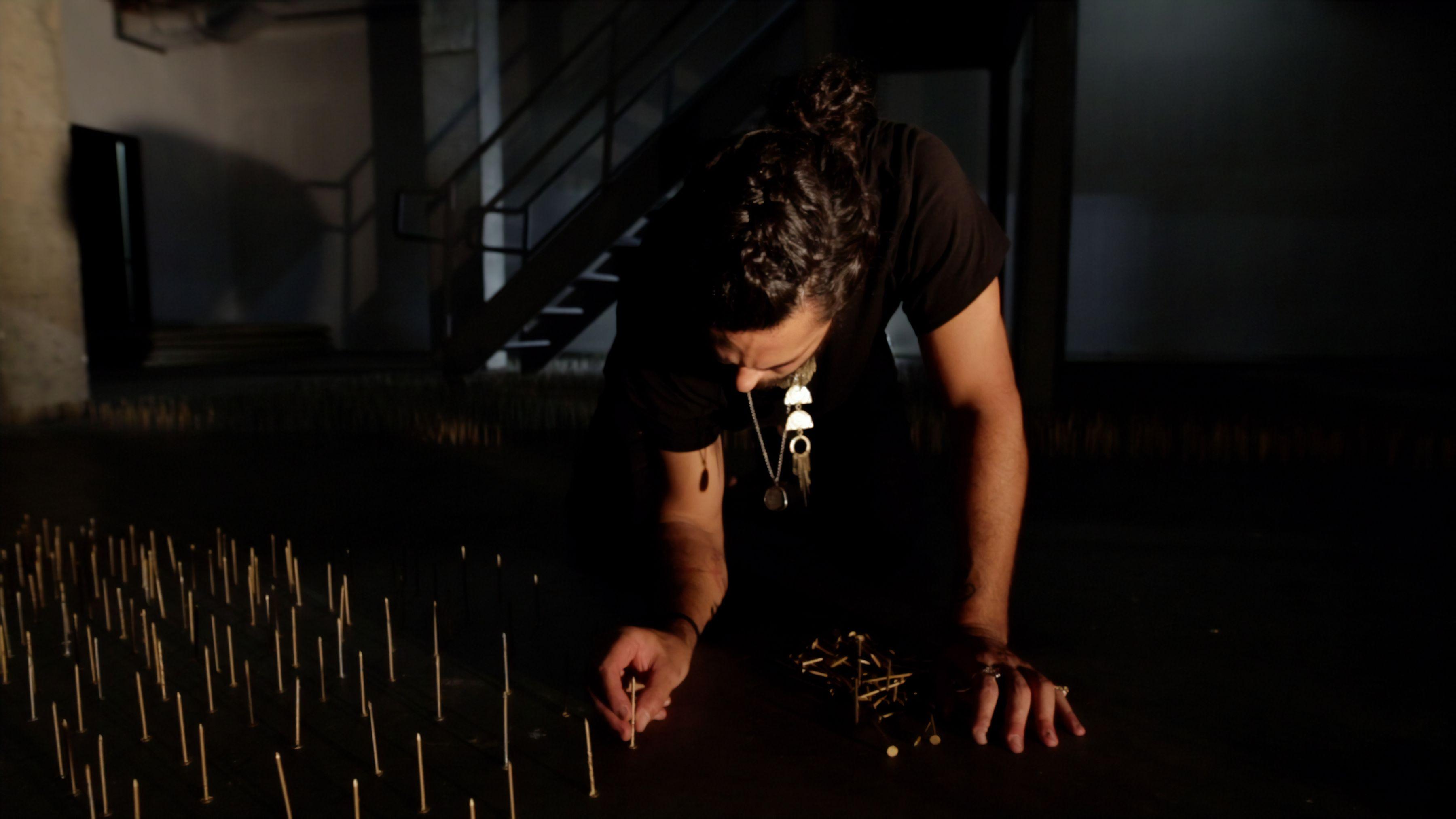 Image of artist making Rebirth Franz Klainsek at Hg Contemporary Williamsburg