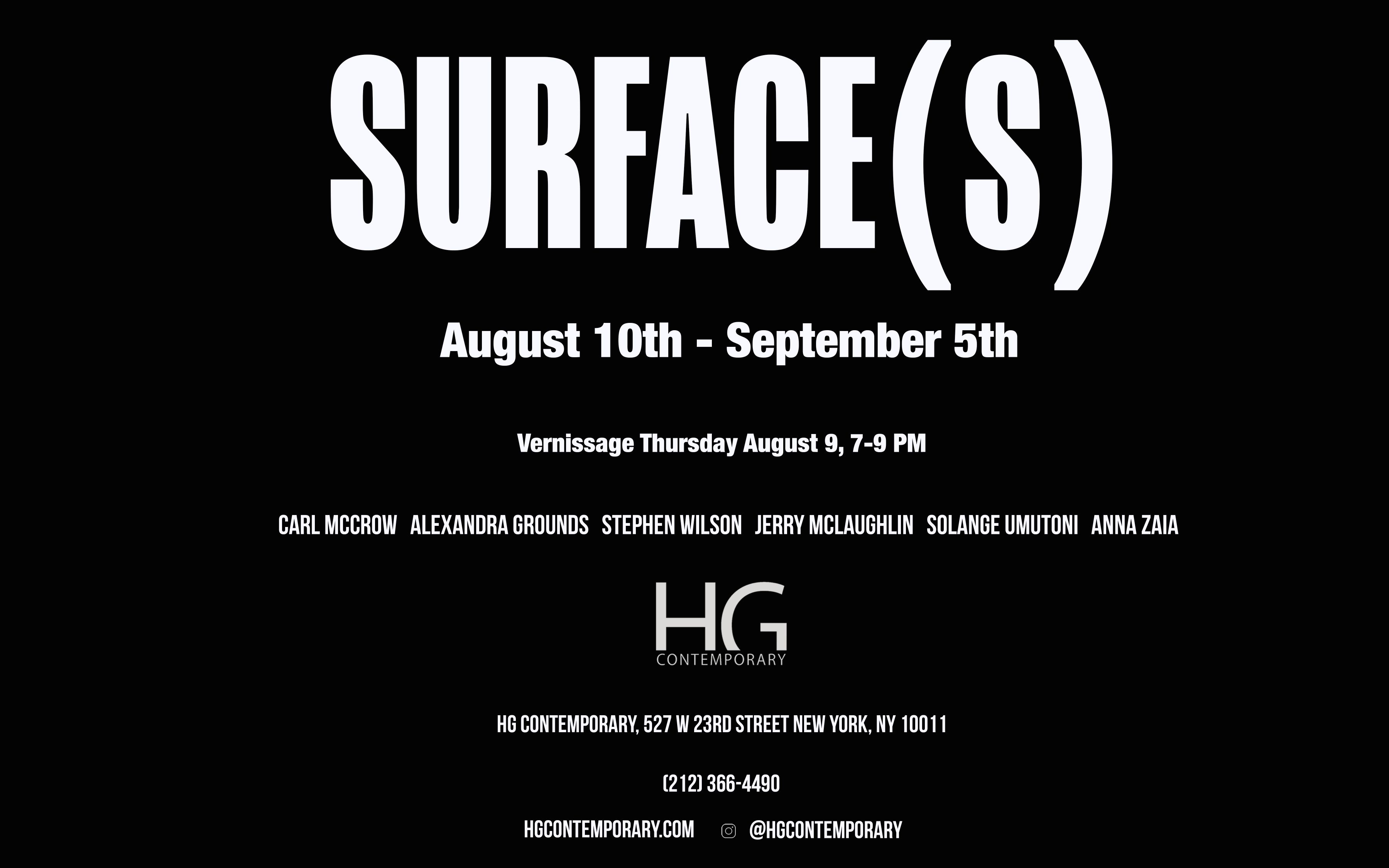 Invitation to Surface(s) group show at Hoerle-Guggenheim Contemporary Nyc