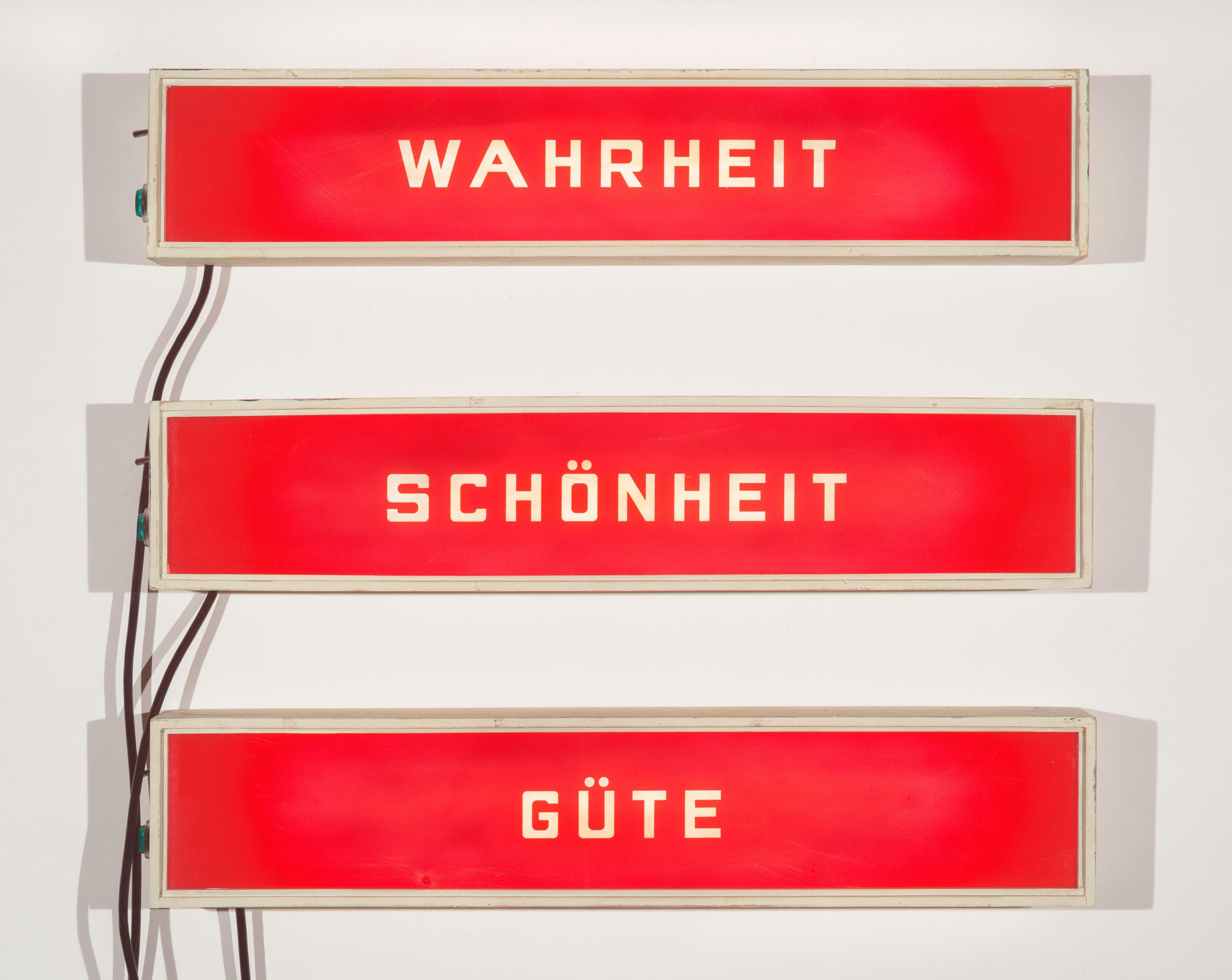 SKYLAR FEIN, Wahrheit, Schönheit, Güte (lighted signs) (triptych), 2019