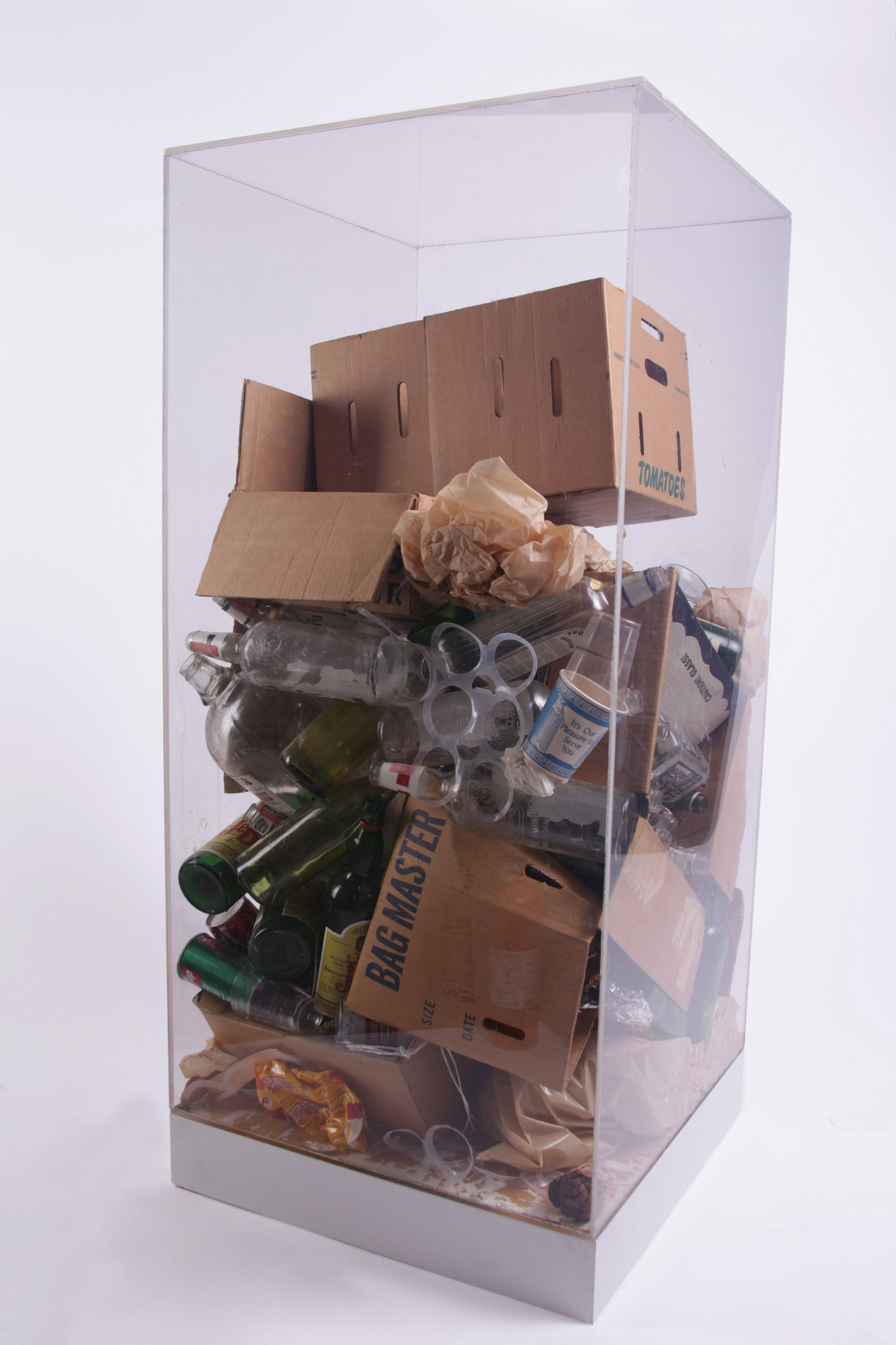 ARMAN,Robert Rauschenberg's Refuse, 1970 Accumulation of studio refuse in Plexiglas box 48 x 24 x 24 in. (122 x 61 x 61 cm), Unique and original