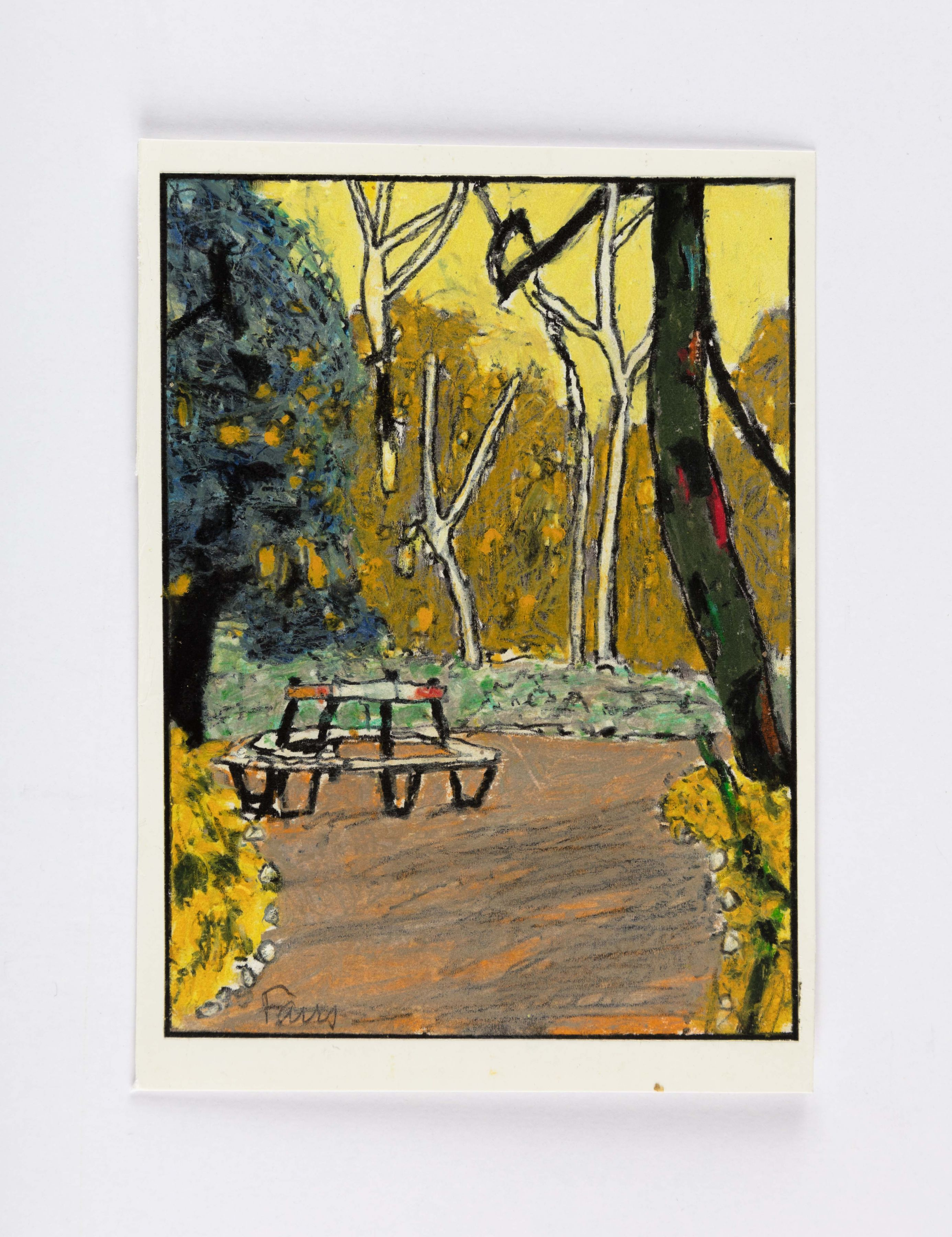 mixed media drawing of a park with trees and a park bench