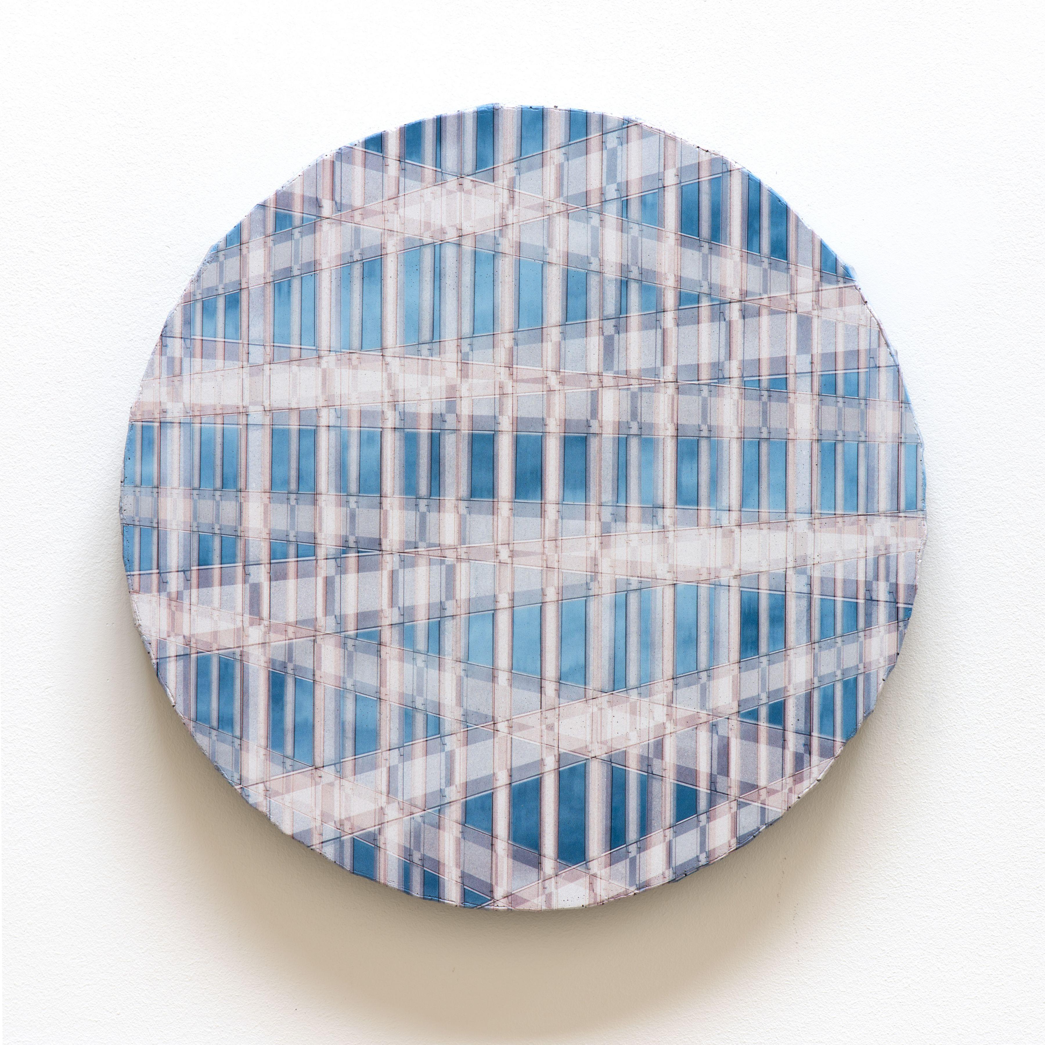 "Adam Moskowitz, Counterform Tondo, 2017, UV ink on concrete, 16 1/2"" x 16 1/2"" x 1 1/2"" at Anita Rogers Gallery"