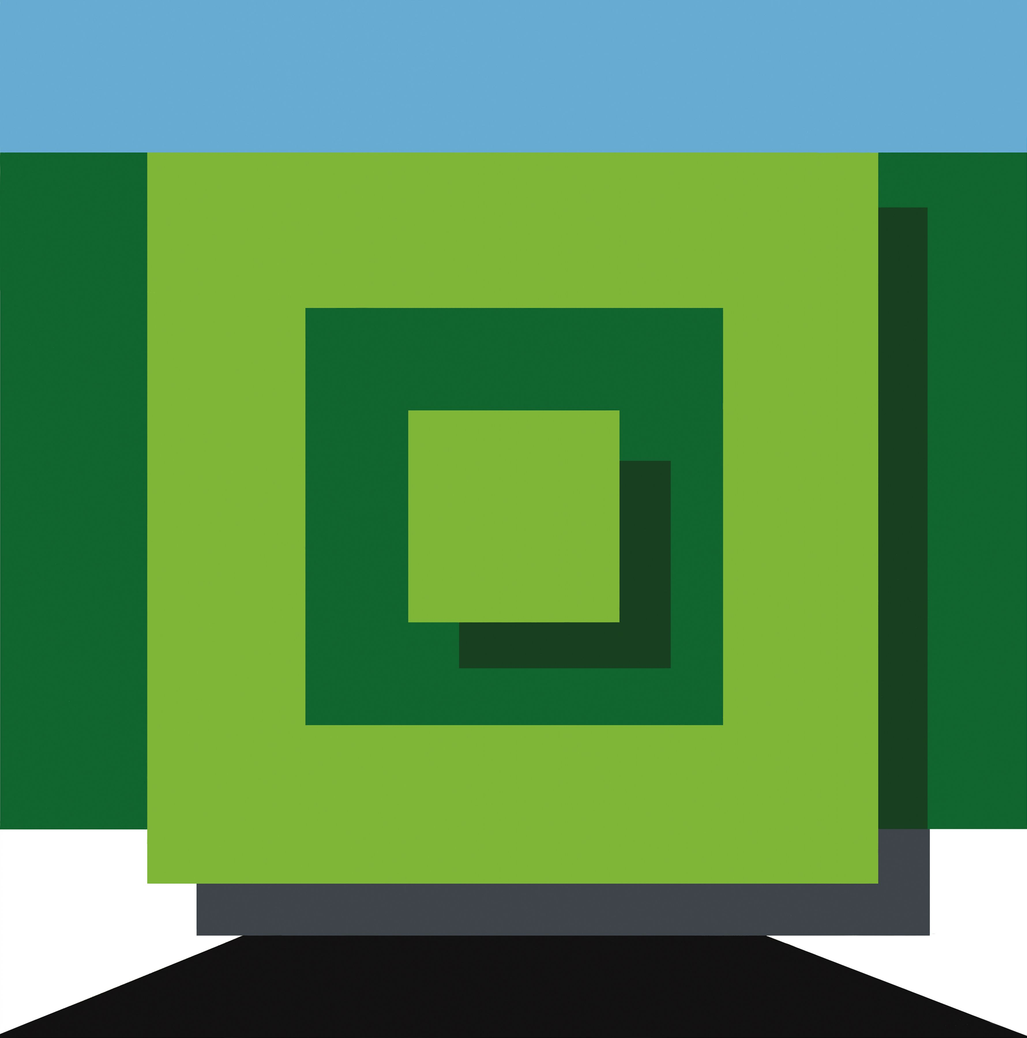 Geometric green squares with blue rectangle and black trapezoid shape