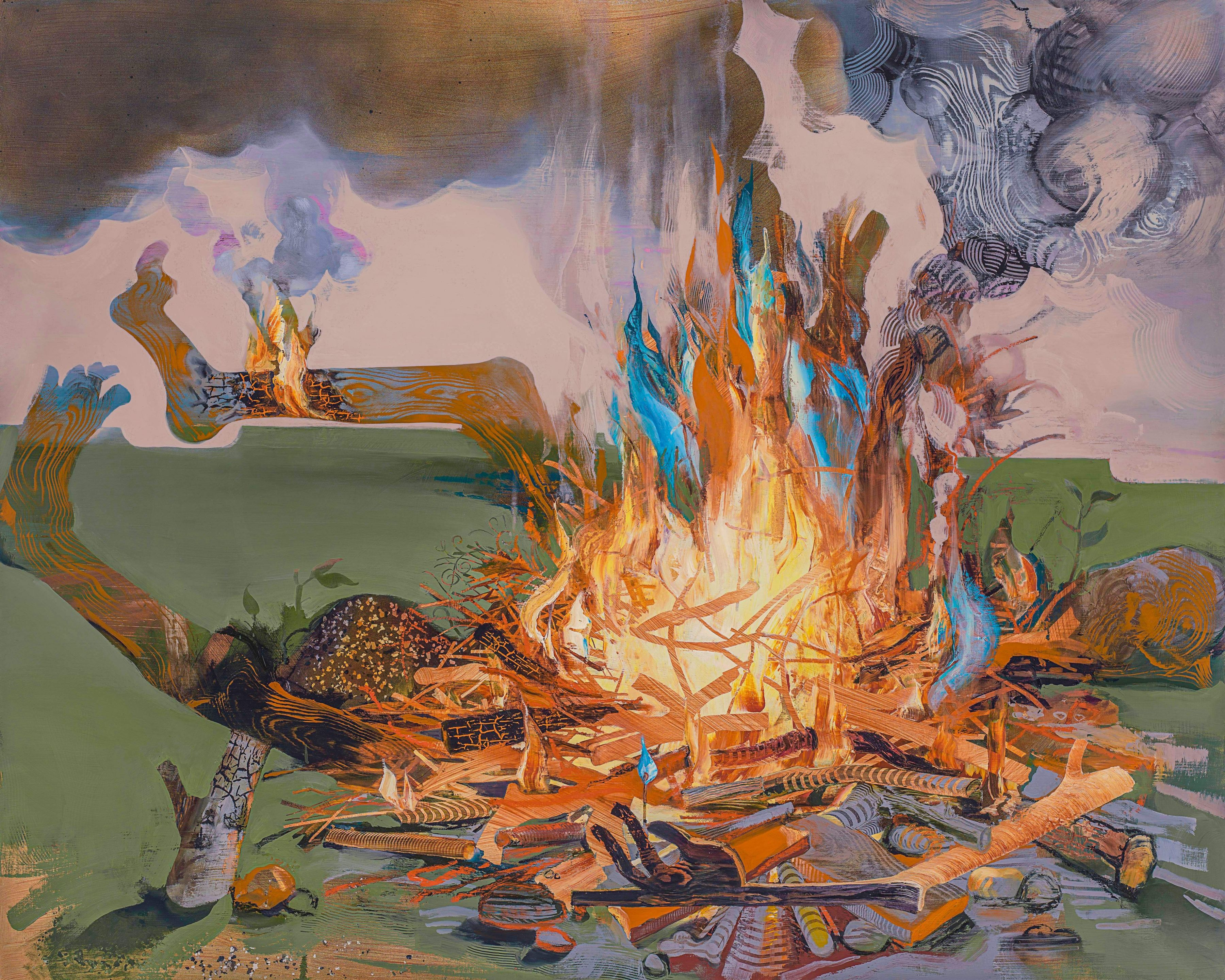 Margaret Curtis, Trial by Fire: The Body Politic, 2017  Oil on panel  48 x 63 inches, body shown aflame as in a campfire.