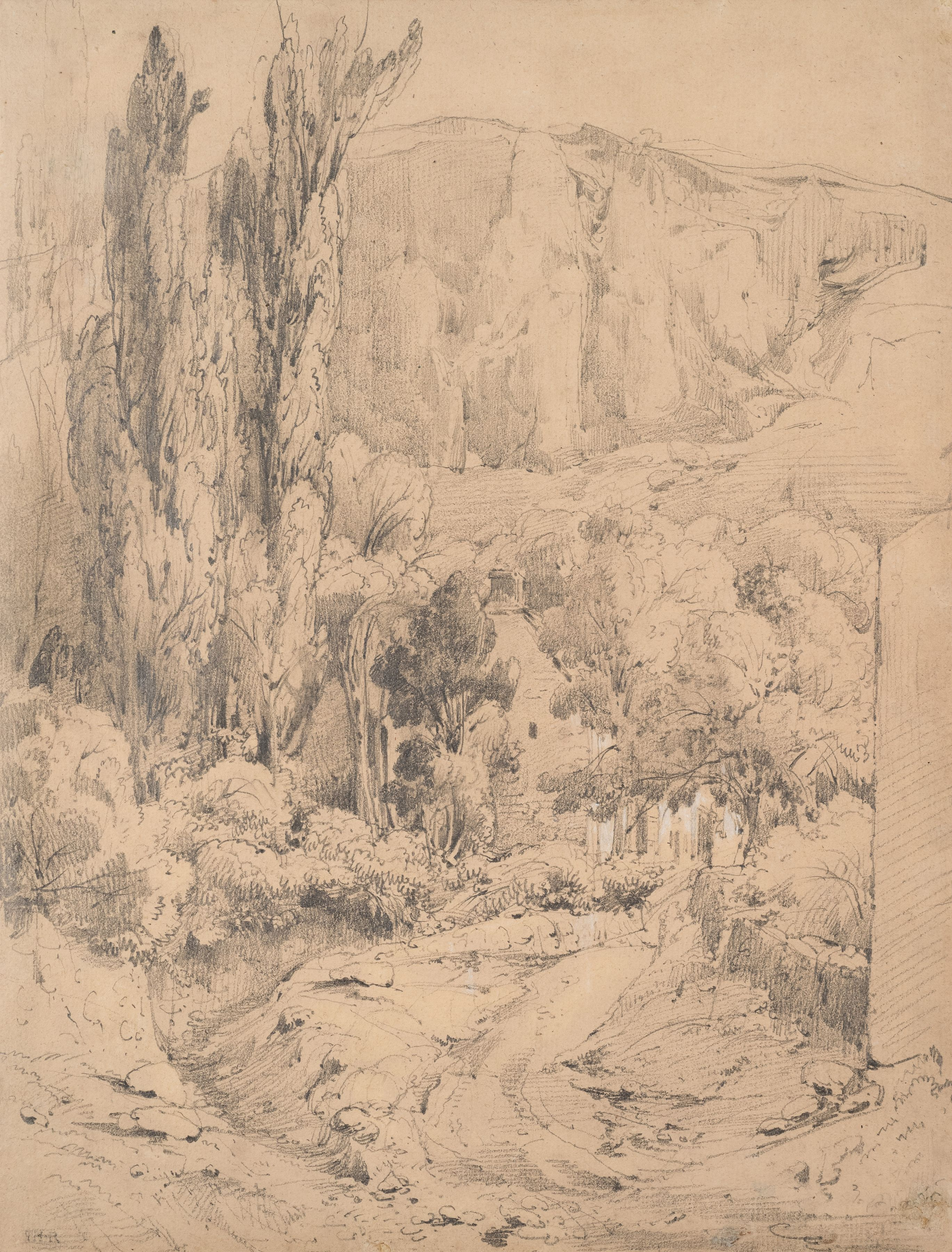 Theodore Rousseau Landscape, c. 1834  Graphite on paper ​11 1/2 x 8 3/4 inches