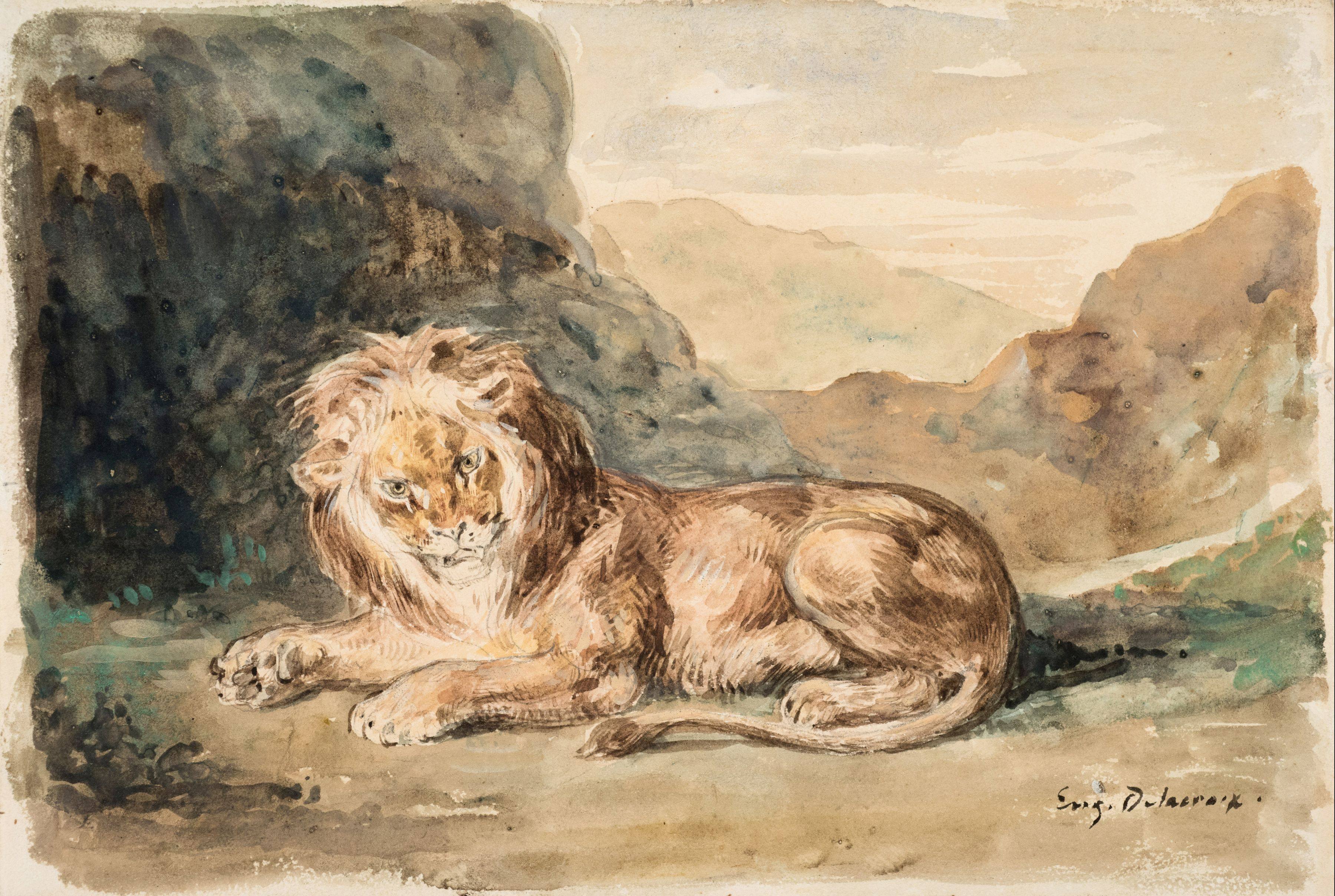Eugene delacroix Seated Lion in a Landscape    Watercolor on paper 7 5/8 x 10 5/8 inches