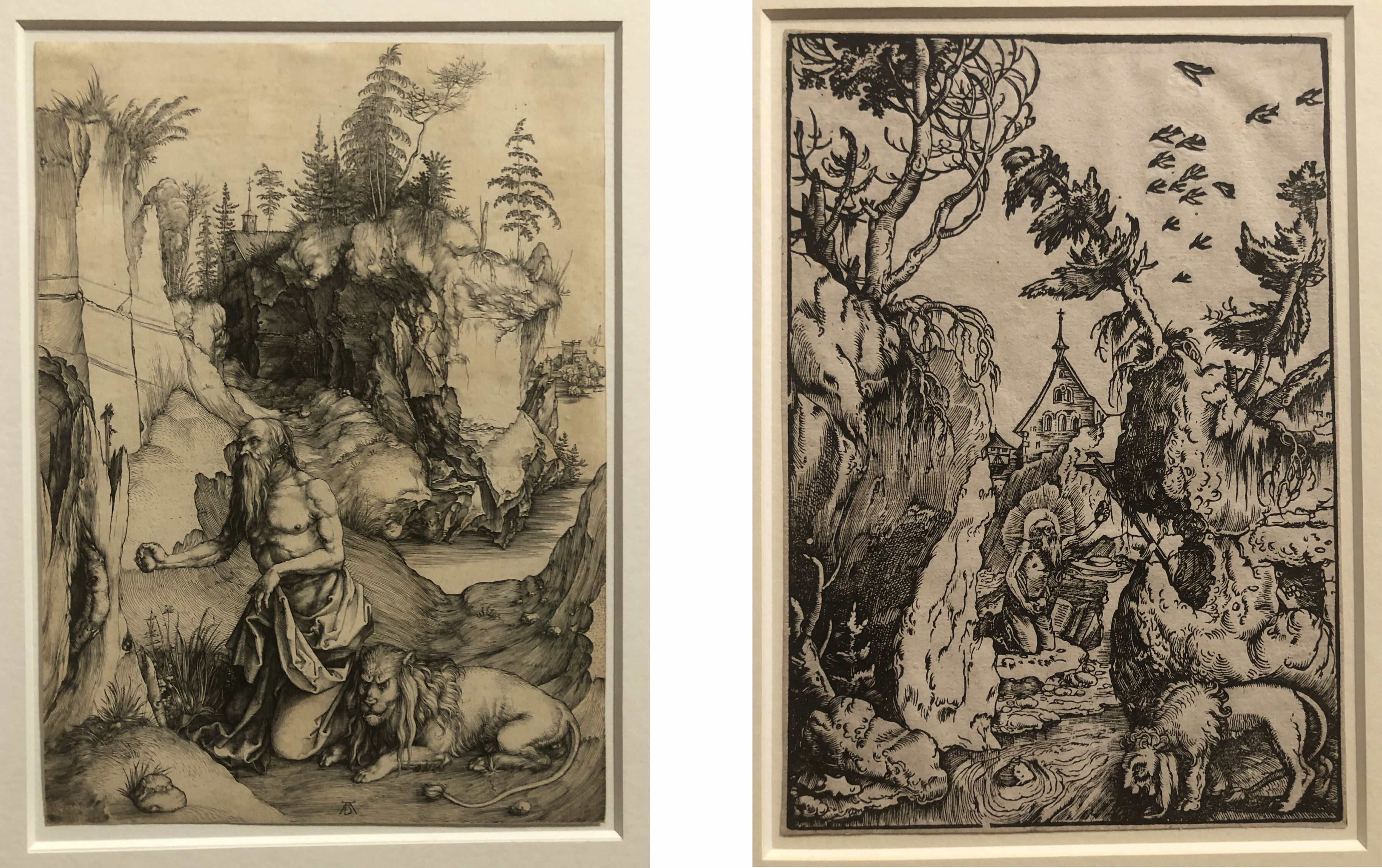 Albrecht Dürer, St. Jerome in a Landscape, etching, ca. 1496, 31.2 x 22.5cm, Collection K. and U. Schulz, Karlsruhe/ Right: Fig. 8 Hans Baldung Grien, St. Jerome in a Landscape, woodcut print on paper, ca. 1511, 22.2 x 15.5cm, Hamburger Kunsthalle, Kupferstichkabinett, Hamburg