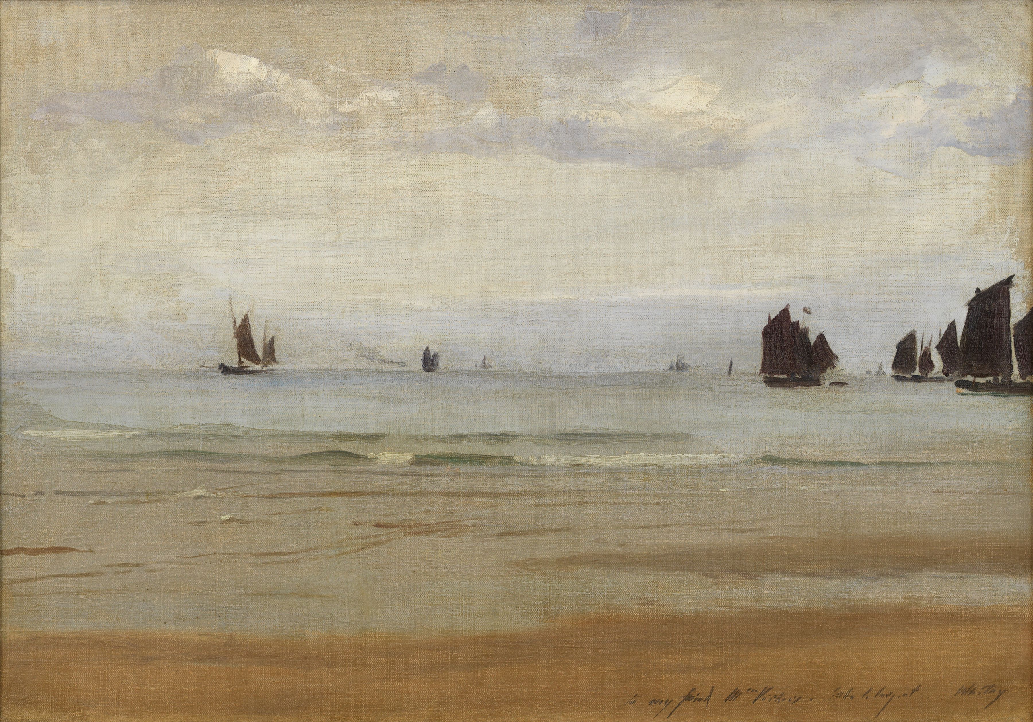 John Singer Sargent (1856-1925) Fishing Boats at Whitby, 1884 Private Collection Nicholas Hall Art Gallery Dealer Old Masters
