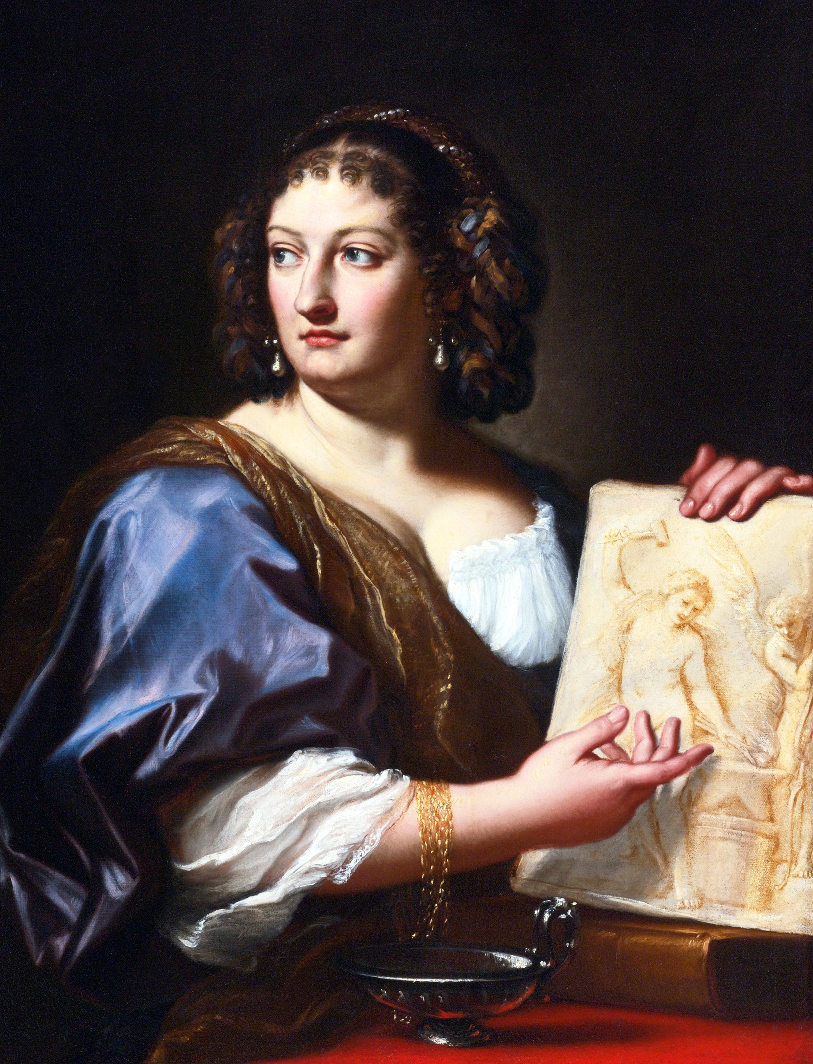 CarloMaratti(1625-1713) Portrait of FrancescaGommiMaratti(1660-1711), Wife of the PainterwhoHolds a Drawing Depicting Venus Forging the Arms of Cupid